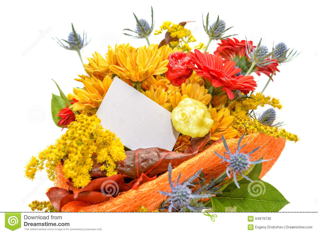 Flower bouquet with blank gift card stock photo image of card flower bouquet with blank gift card izmirmasajfo