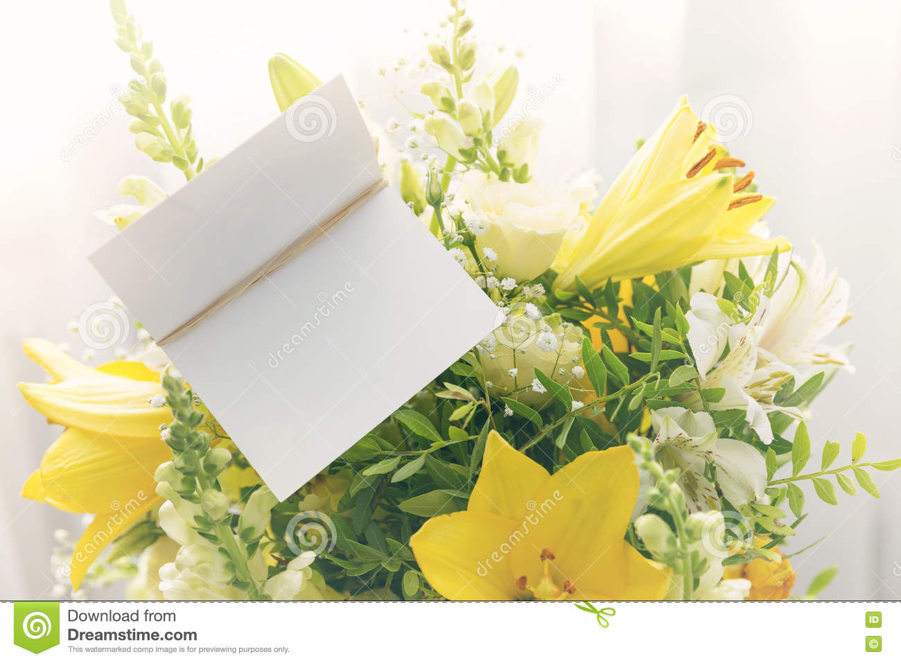 Flower Bouquet With A Blank Greeting Card Stock Image Image Of