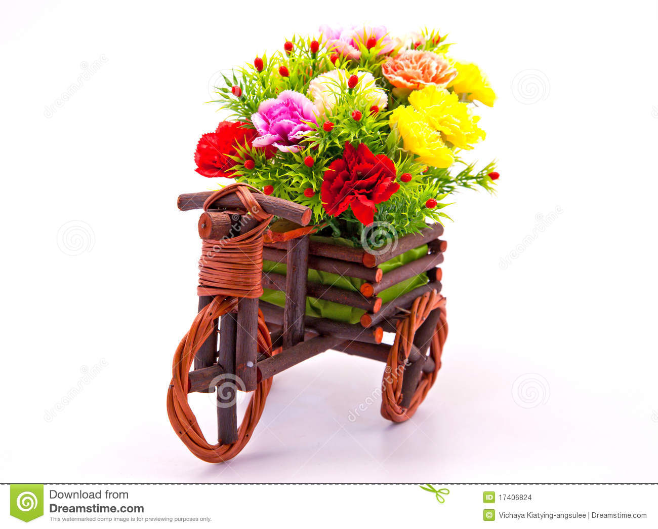 Beautiful red rose garden - Flower Bouquet In Car Wooden Basket Stock Photo Image