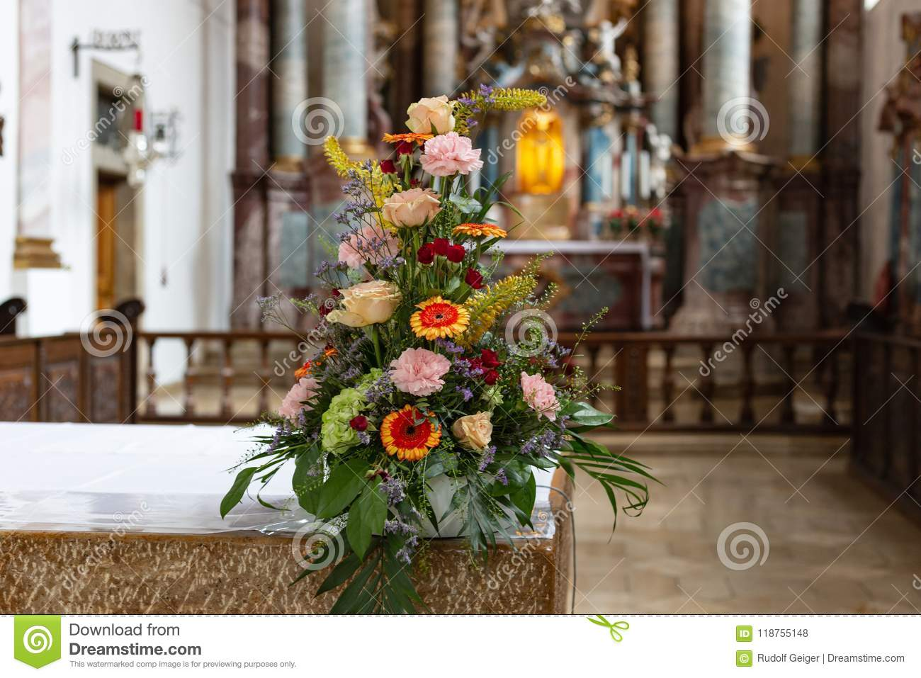 Flower Bouquet In Church Altar Stock Photo Image Of Cathedral Catholic 118755148