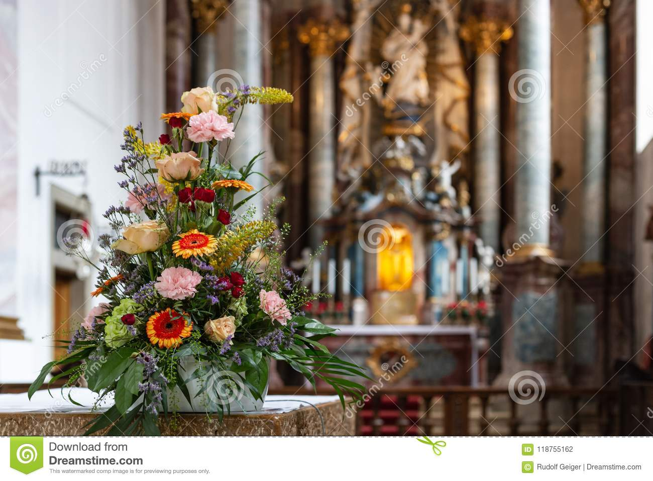 Flower Bouquet In Church Altar Stock Photo Image Of Colorful Celebration 118755162