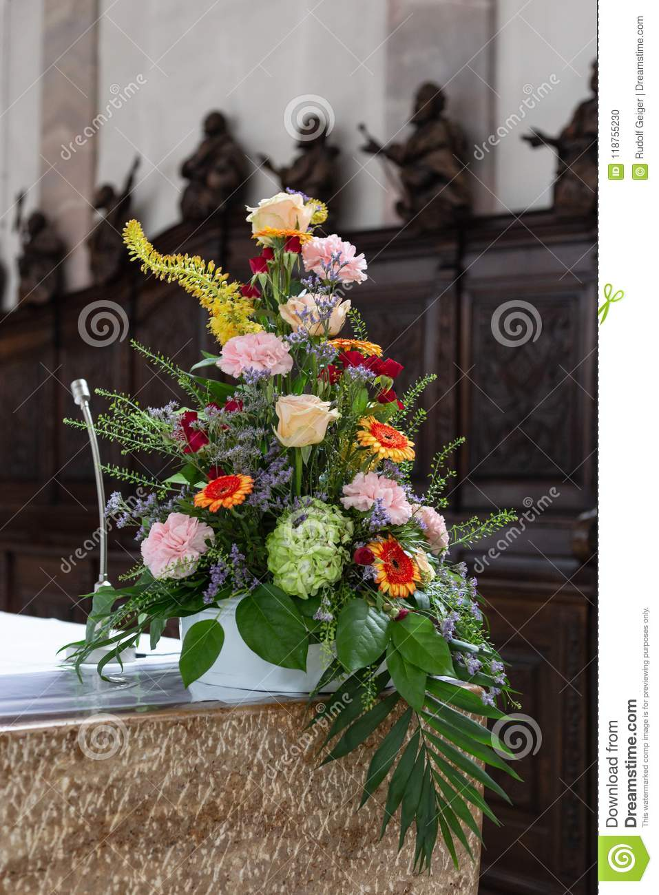 Flower Bouquet In Church Altar Stock Photo Image Of Cathedral Romantic 118755230