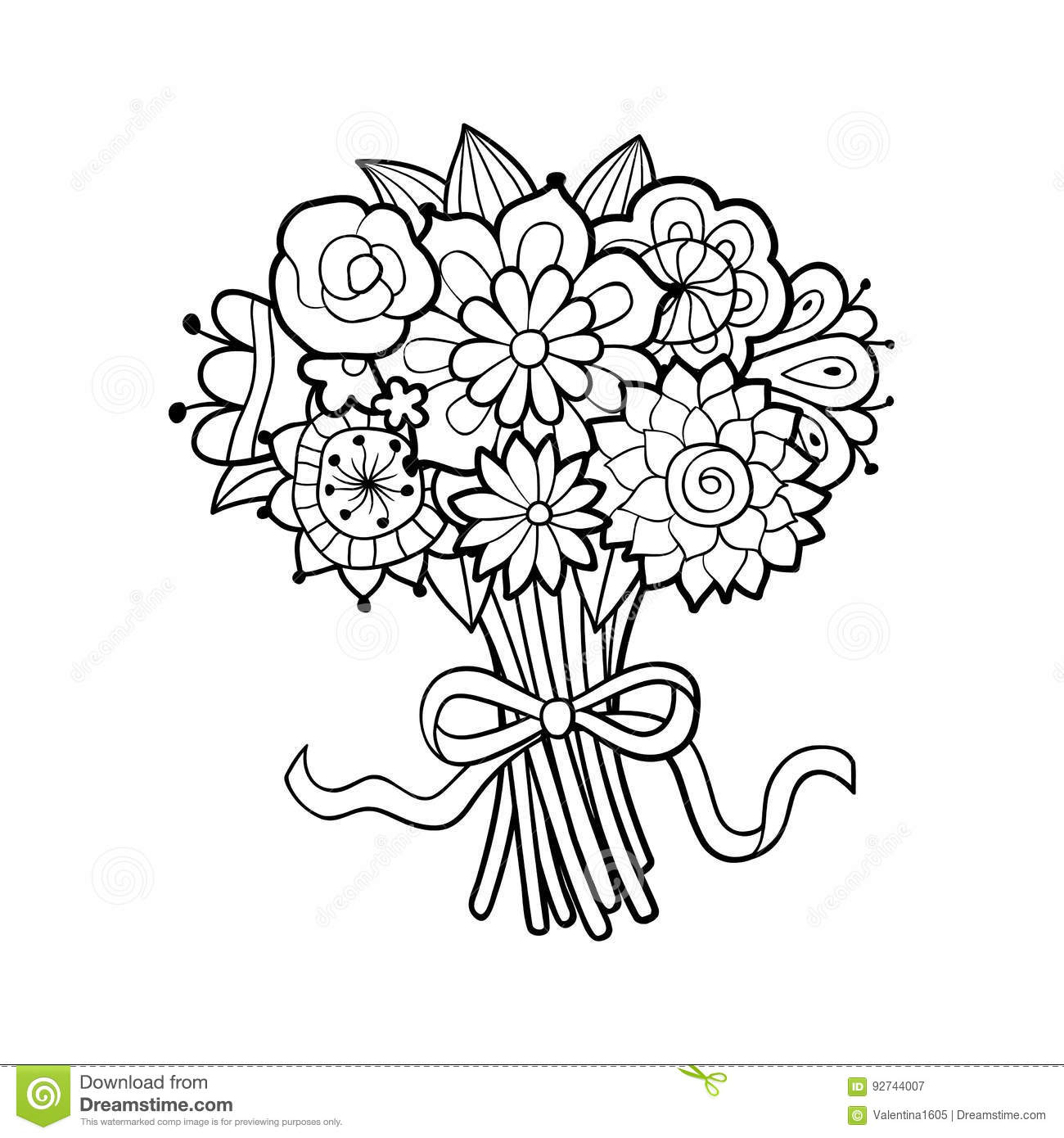Flower Bouquet Stock Vector Illustration Of Blossom 92744007