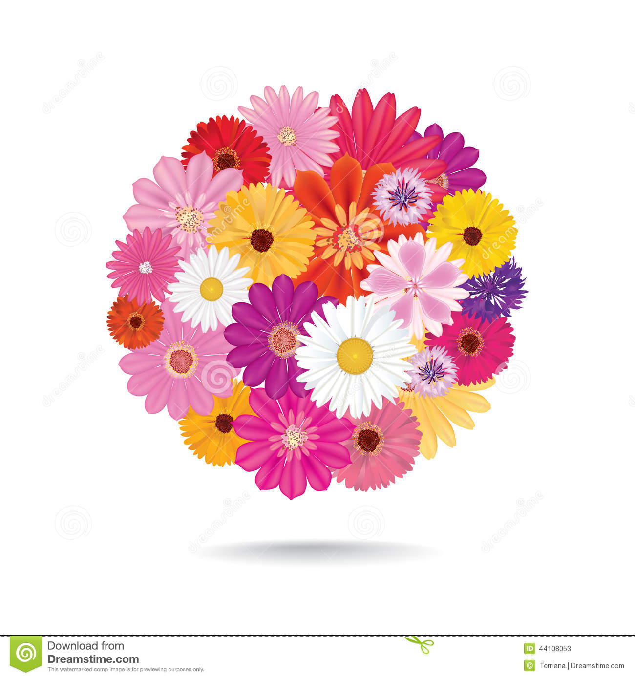 Flower Bouquet Floral Posy Isolated On White Background