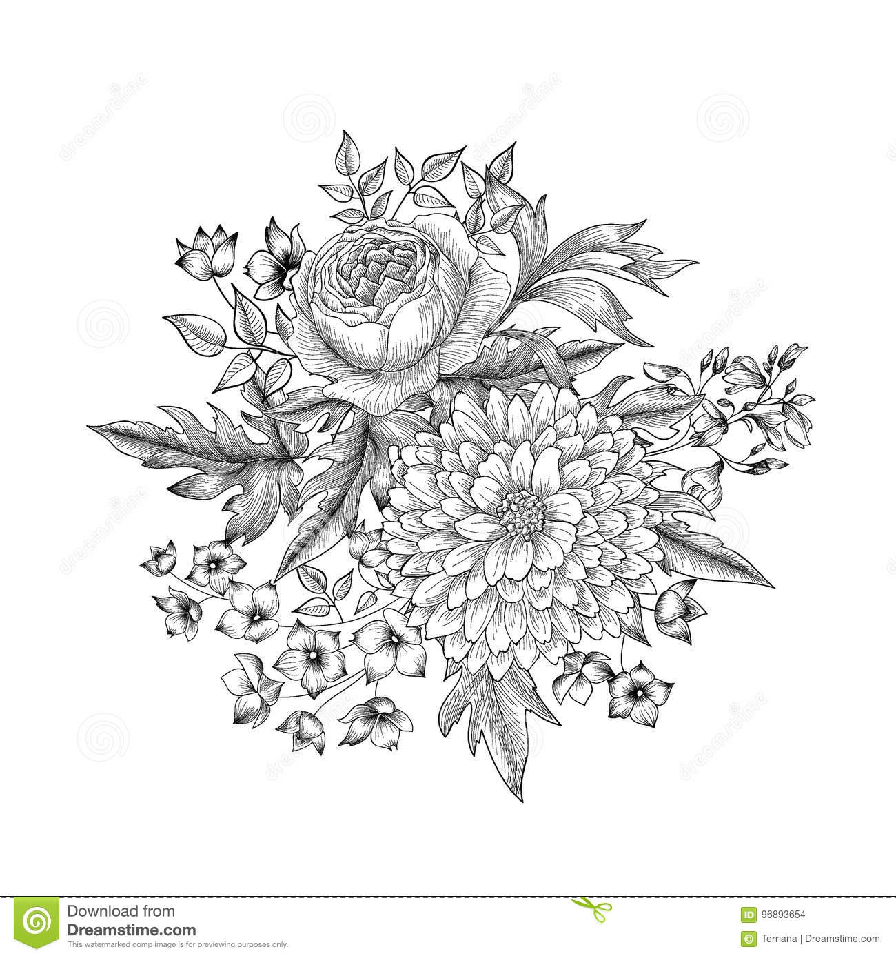 Flower Bouquet Floral Sketch Engraving Background Stock