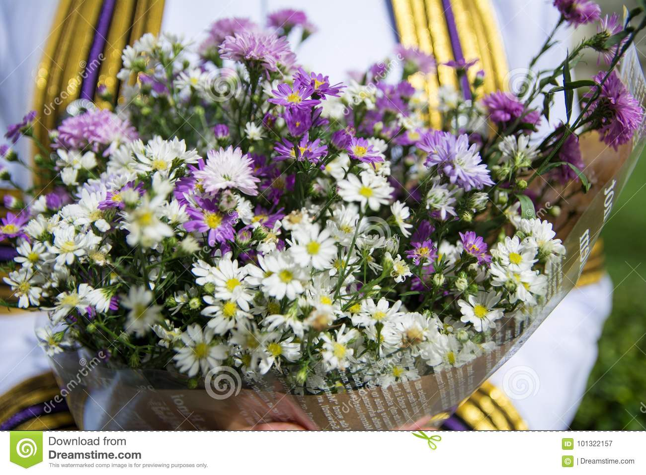 Flower Bouquet Hand Congratulation Stock Image Image Of Beauty