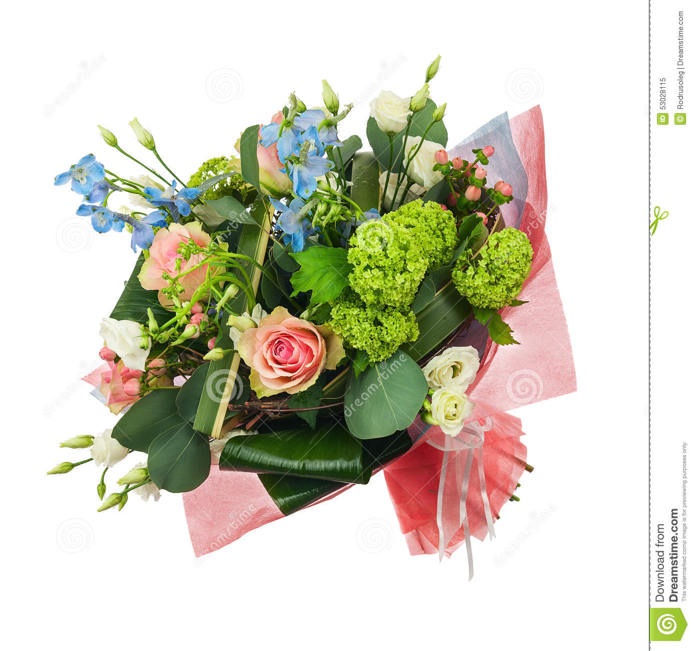 Flower Bouquet From Multi Colored Roses, Iris And Other ...