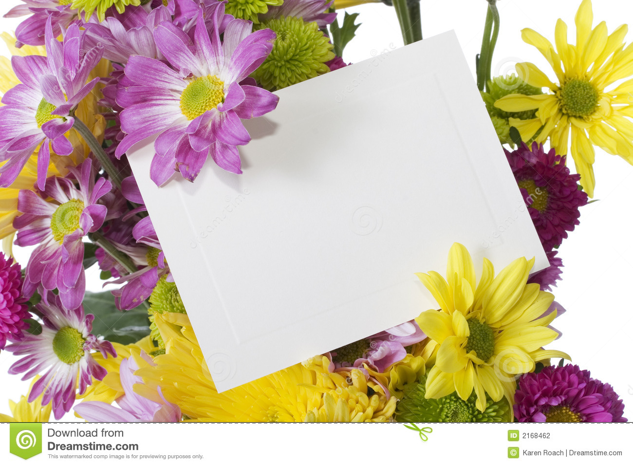 Flower Bouquet With Note Card Stock Photo Image 2168462