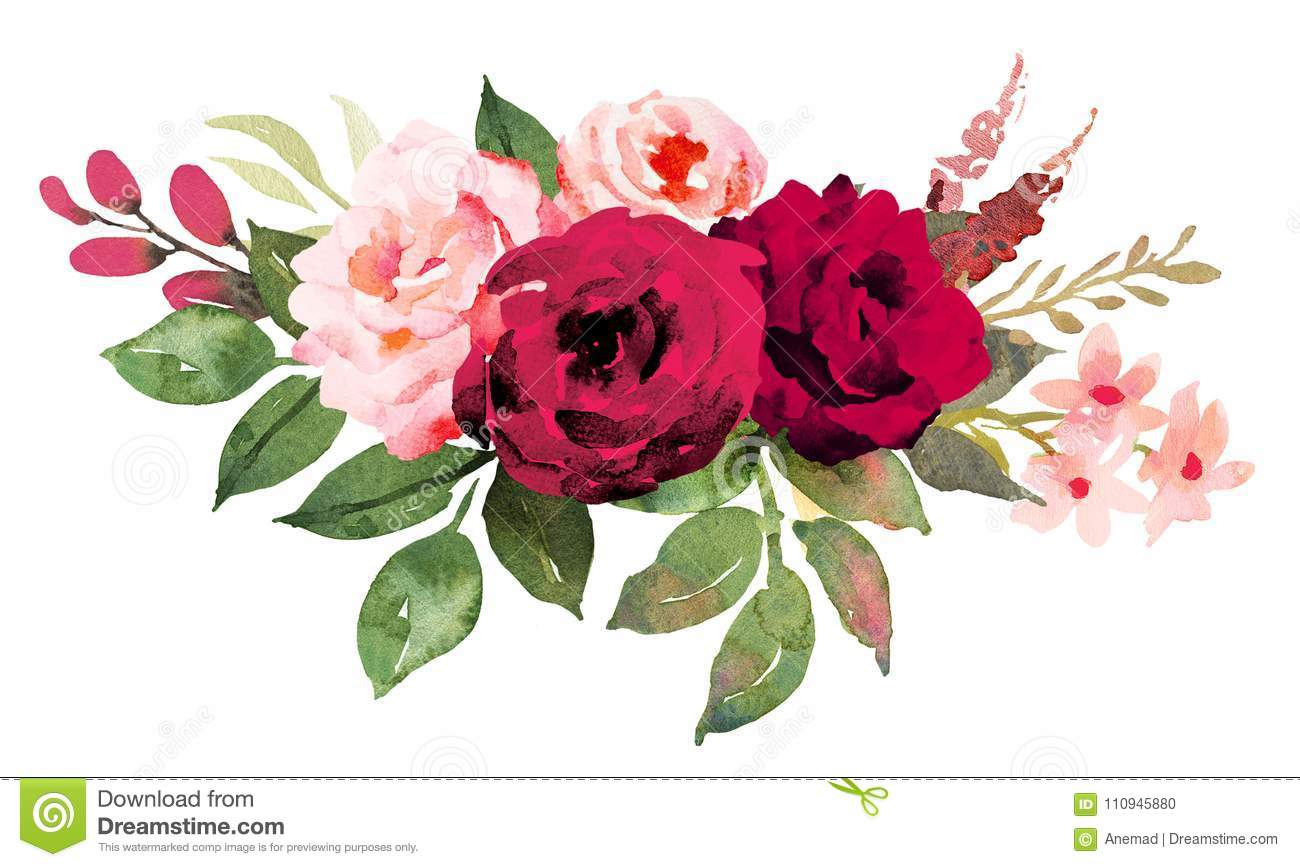 Flower Bouquet With Red And Pink Roses Stock Illustration
