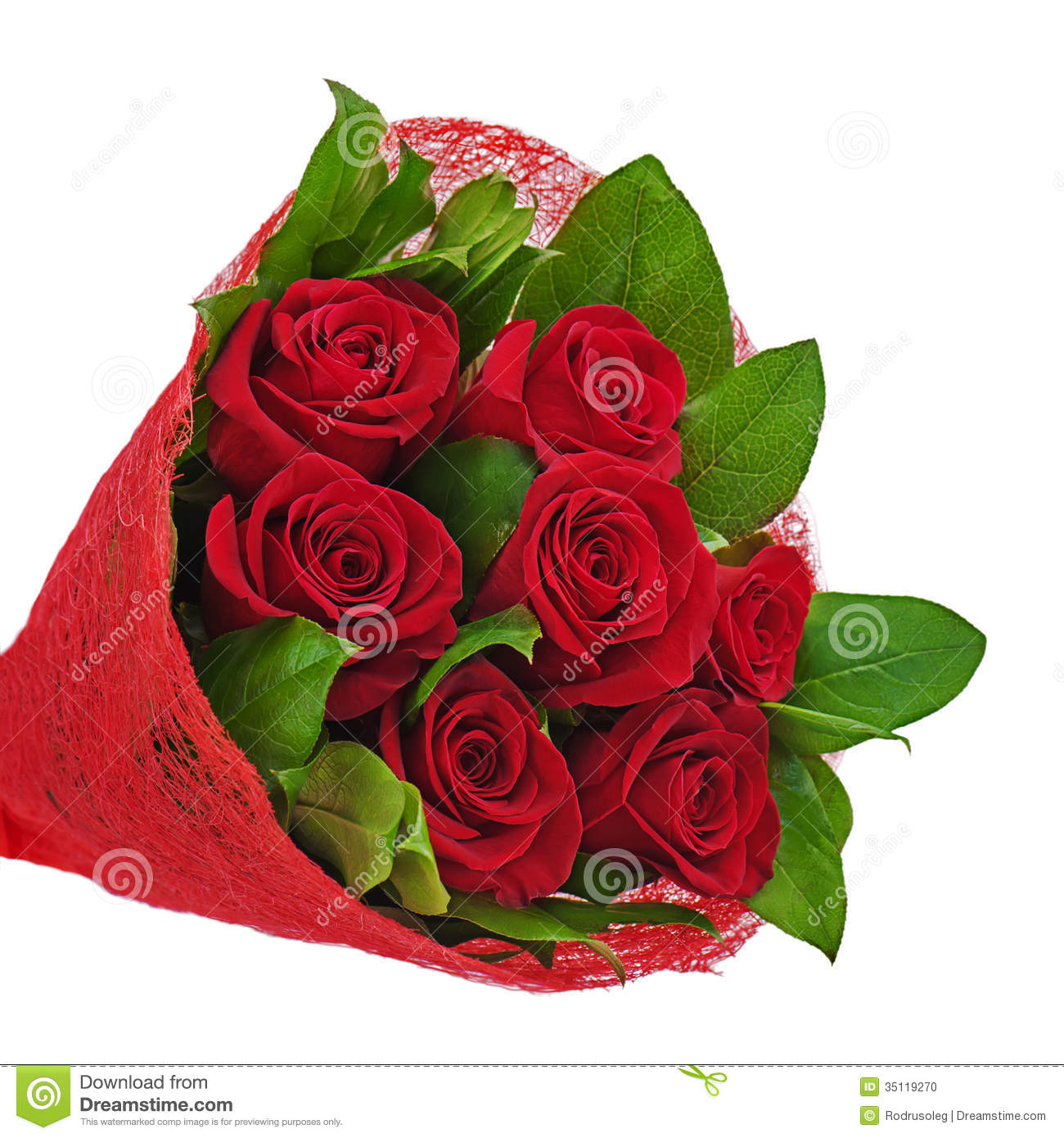 Flower Bouquet From Red Roses Isolated On White Background ...