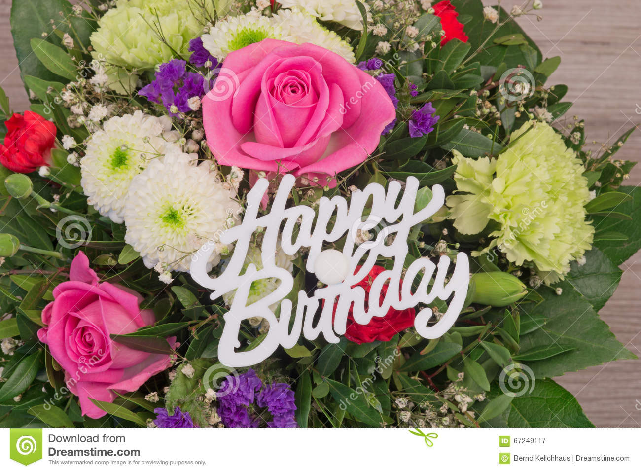 Flower bouquet with text happy birthday stock image for Bouquet de fleurs pour une naissance