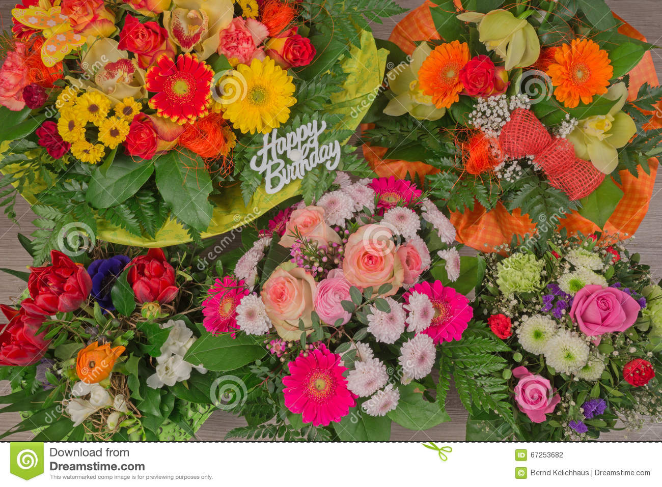 Flower bouquet with text happy birthday stock photo image of bunch of colorful flowers flower bouquet with text happy birthday izmirmasajfo