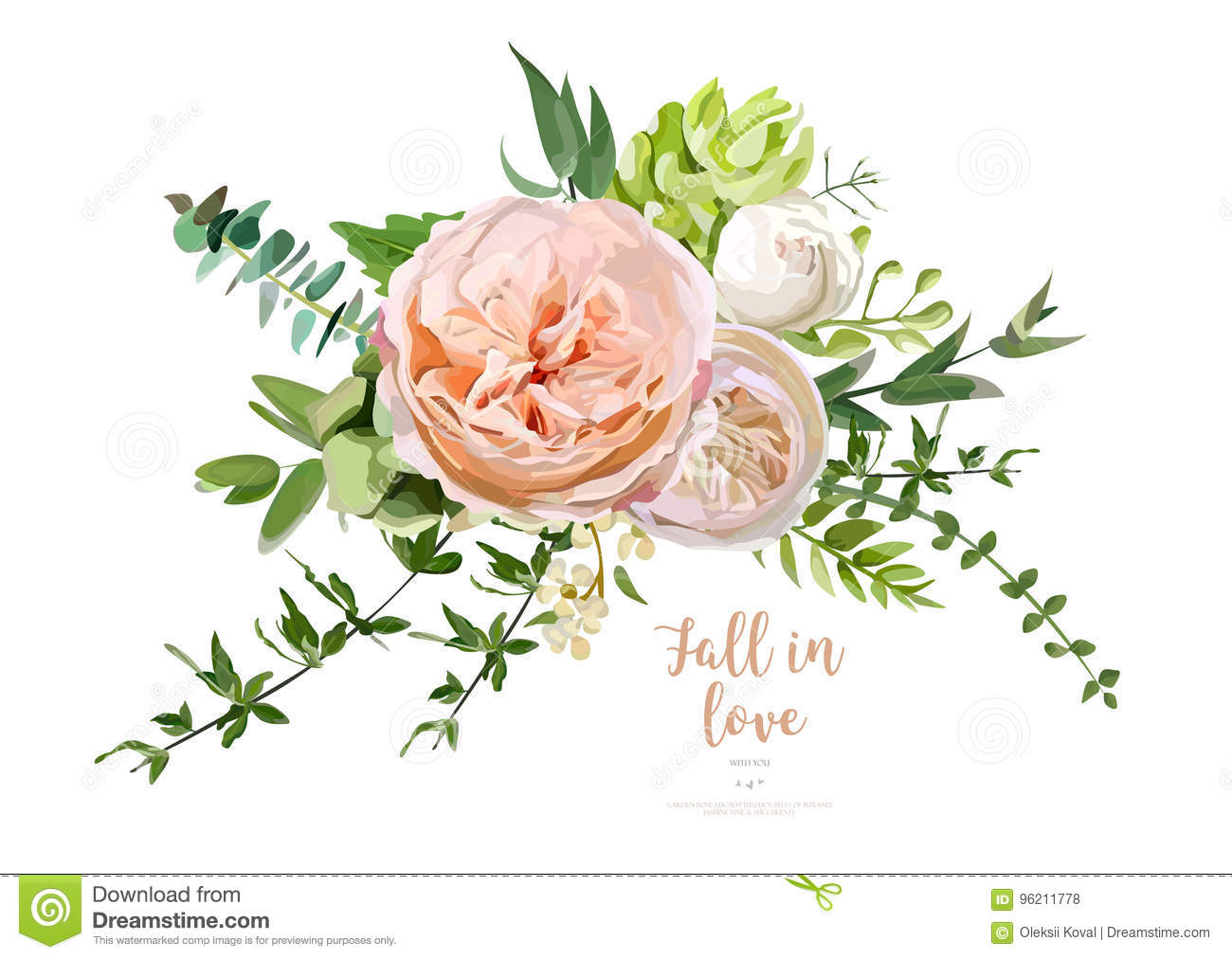 Flower Bouquet Vector Design Object Element Peach Pink Rose E