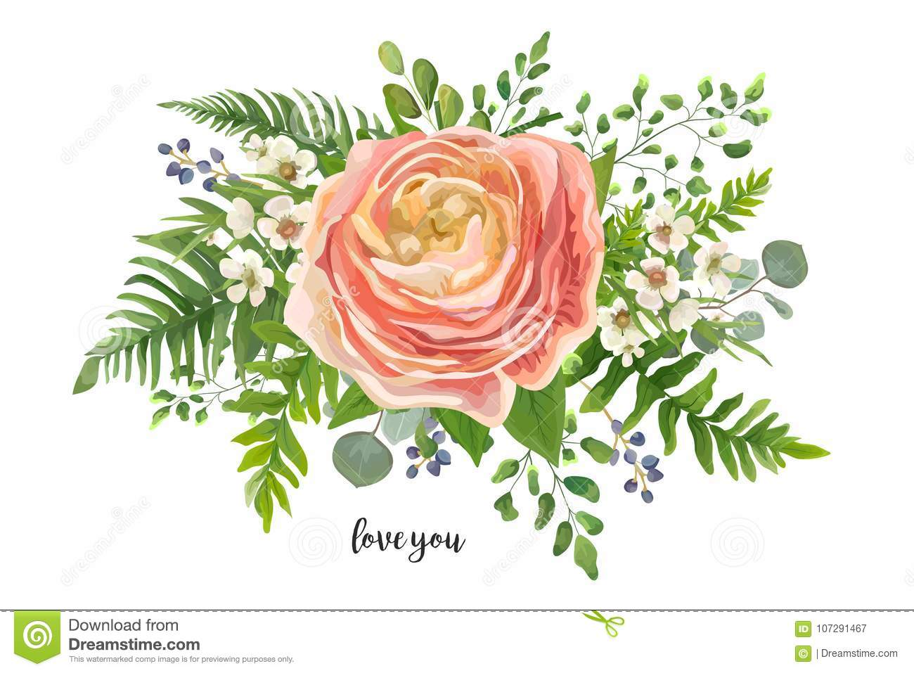 Flower Bouquet Vector Watercolor Element Peach Pink Rose Ranun