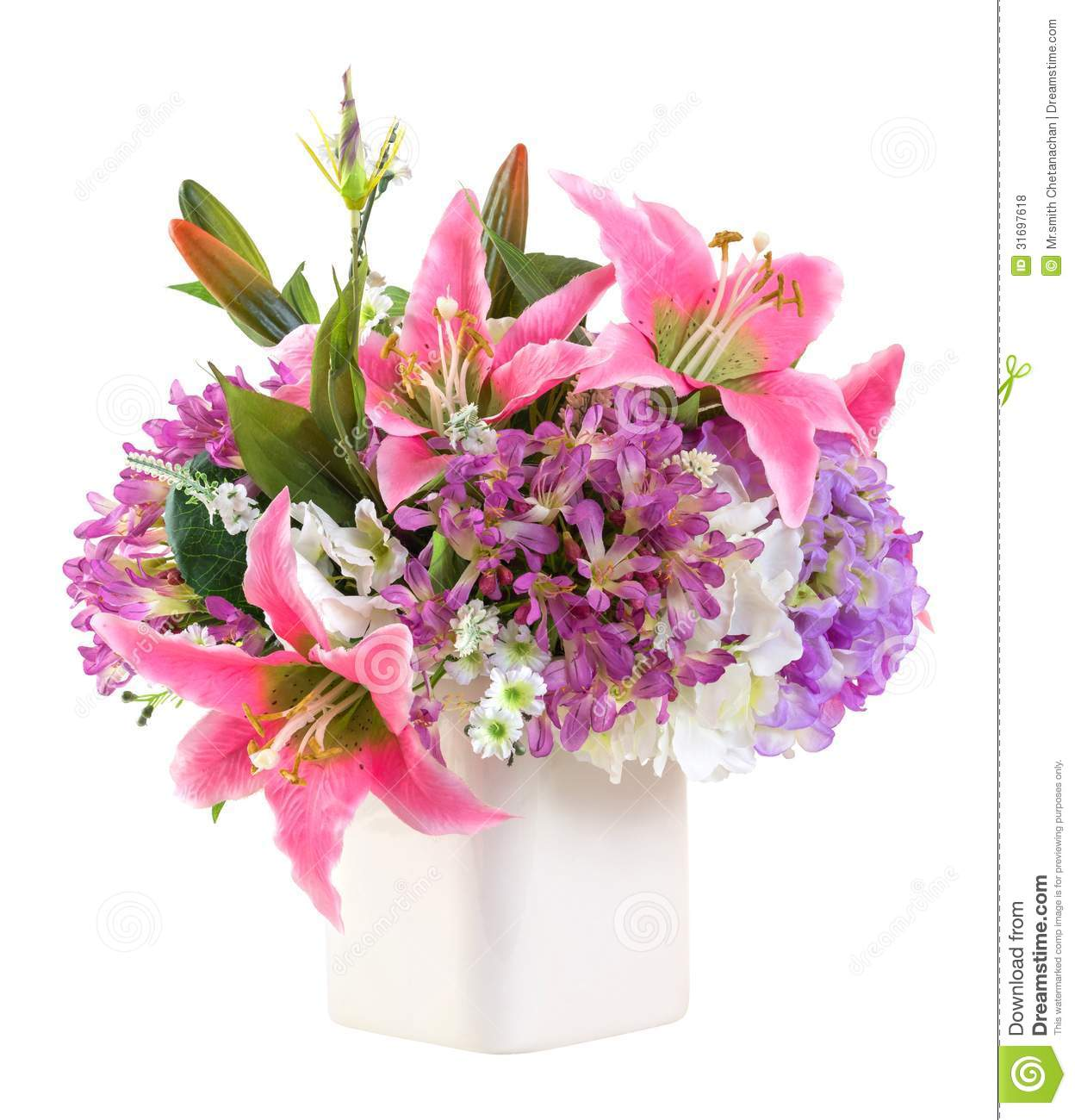 Flower Bouquet In White Ceramic Pot Stock Photo Image Of Leaf