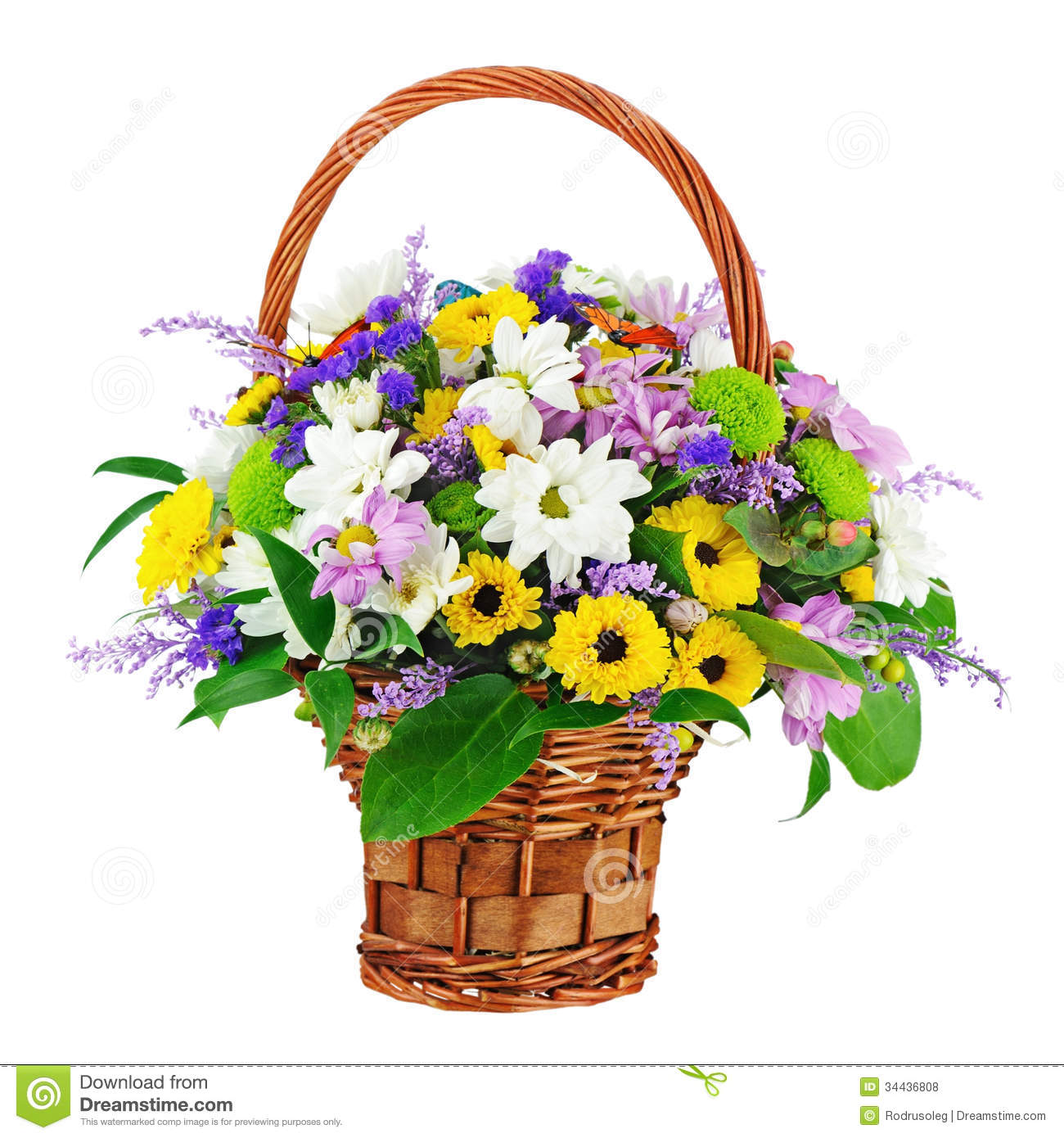 Flower Bouquet In Wicker Basket Isolated White Background Royalty Free Sto