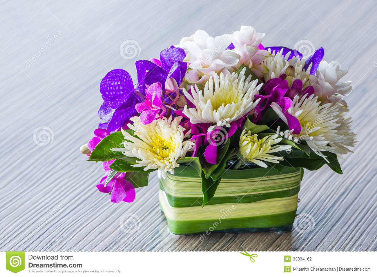 Flower Bouquet On Wood Table Stock Photo Image Of Wedding