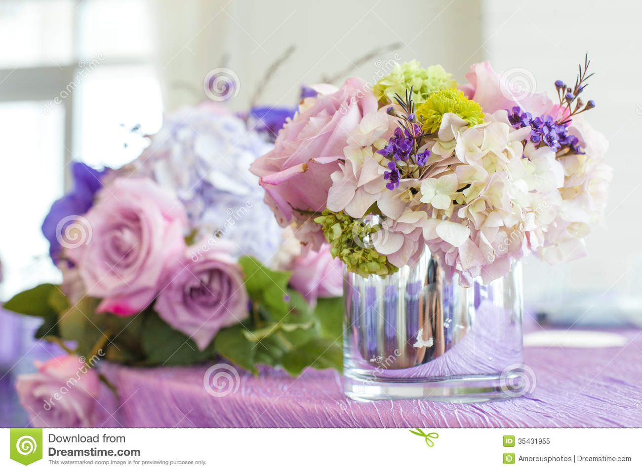 Flower Bouquets On Table Stock Image Image Of Near Love 35431955