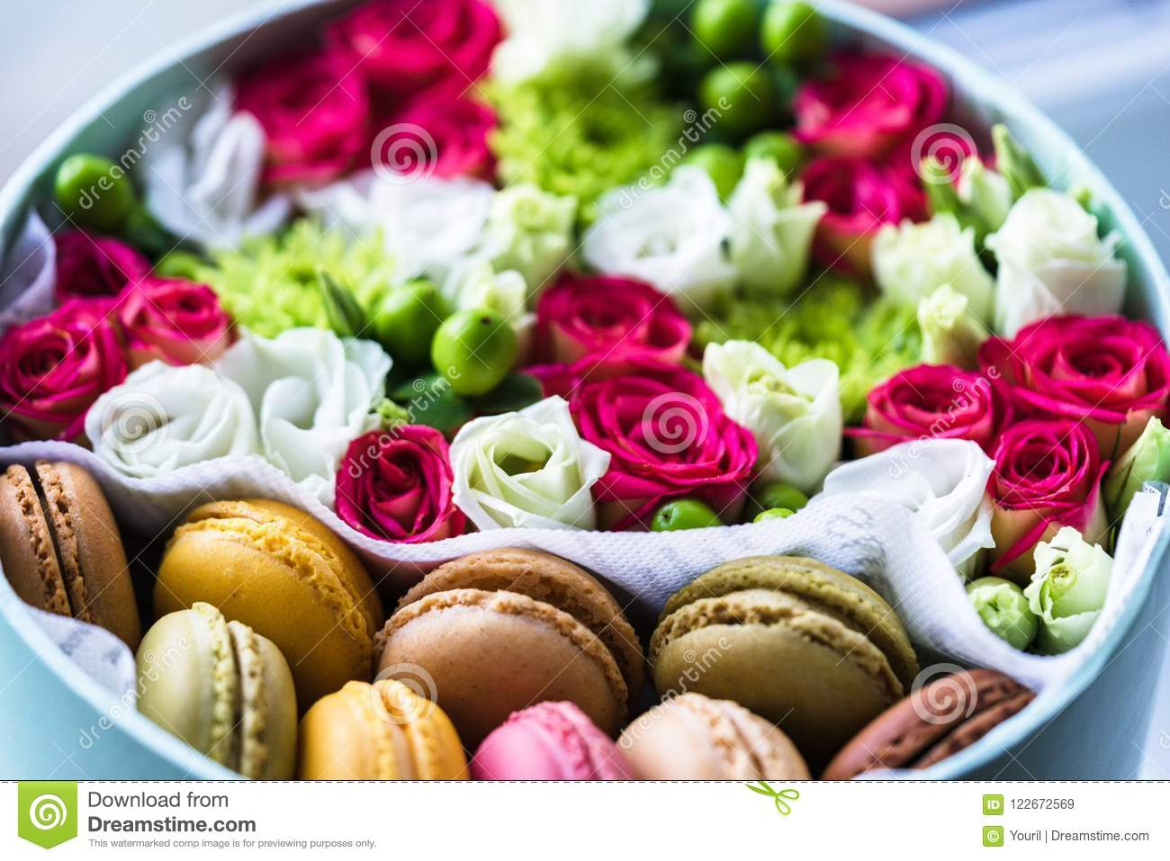 Flower Box With Macarons Good Idea For Friendly Gift Stock Image Image Of Confectionery Mockup 122672569
