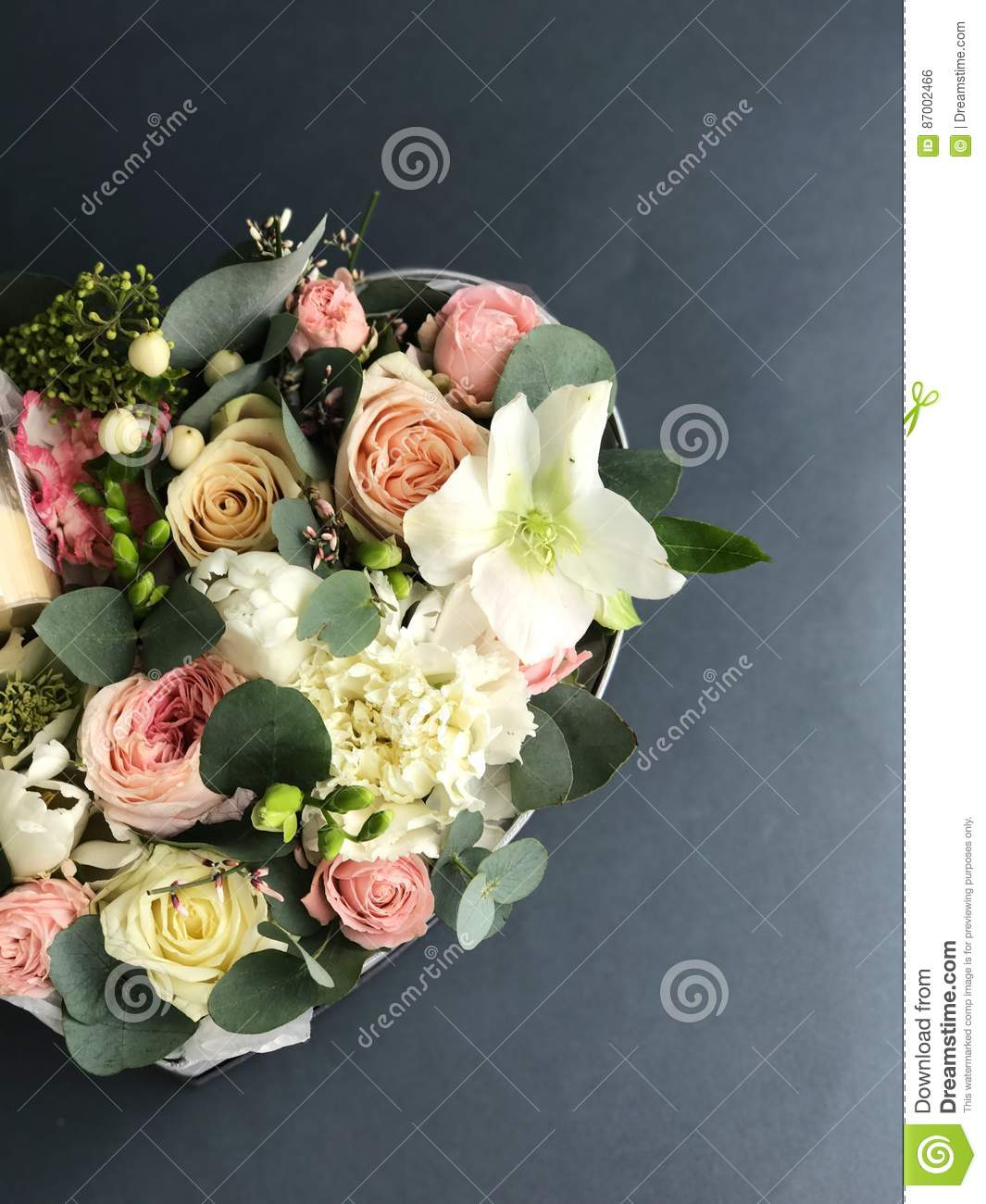 Flower Box In A Shape Of A Heart Stock Photo Image Of Flower