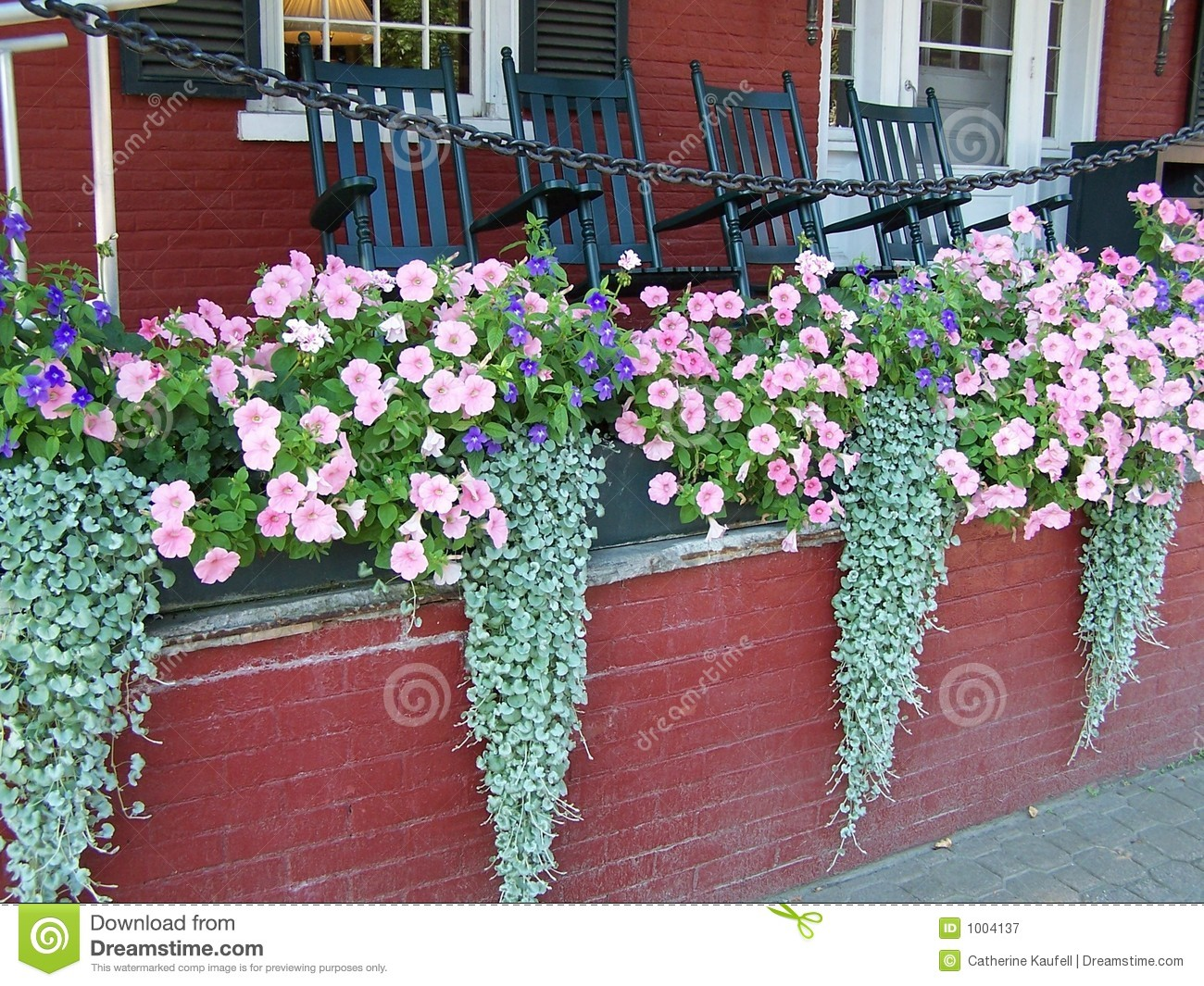Flower Boxes On Porch Stock Image Image Of Porch