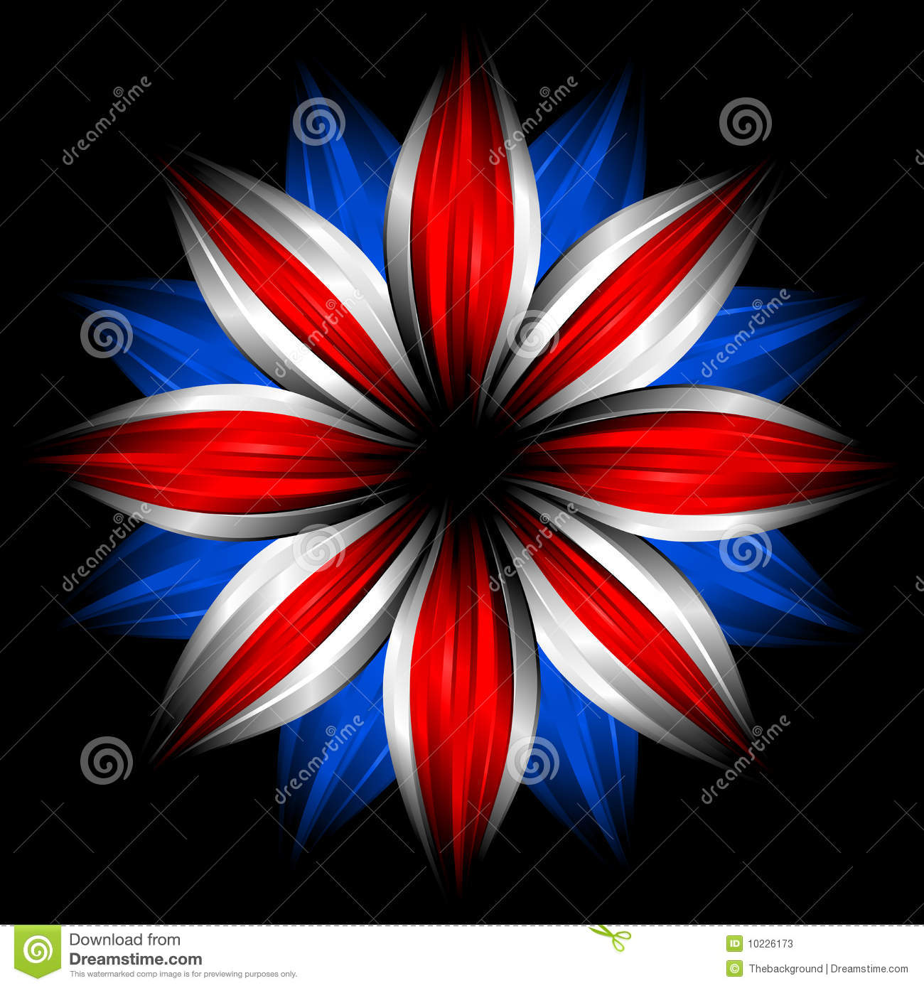 flower with british flag colors on black stock illustration