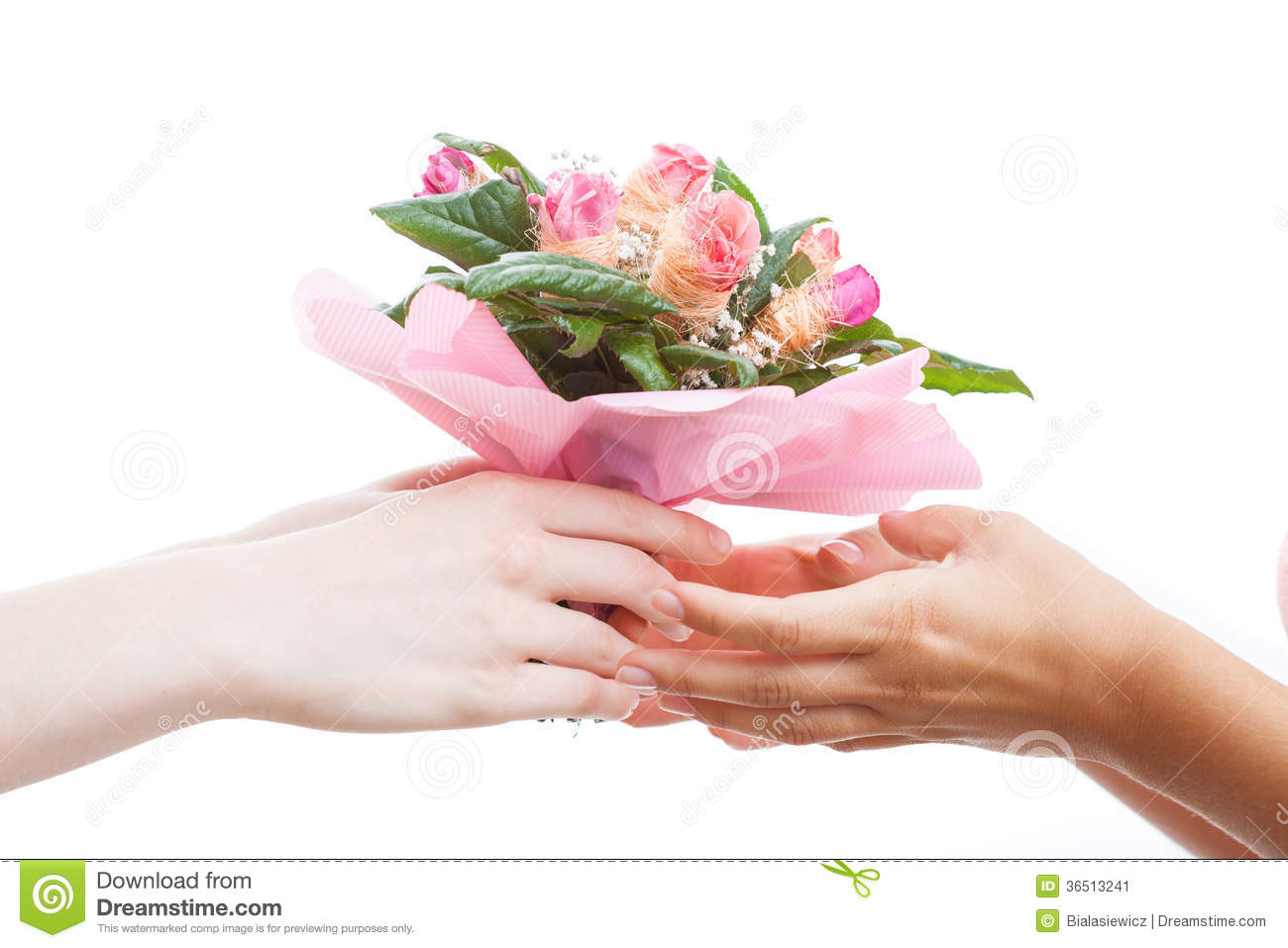 giving flowers to a girl