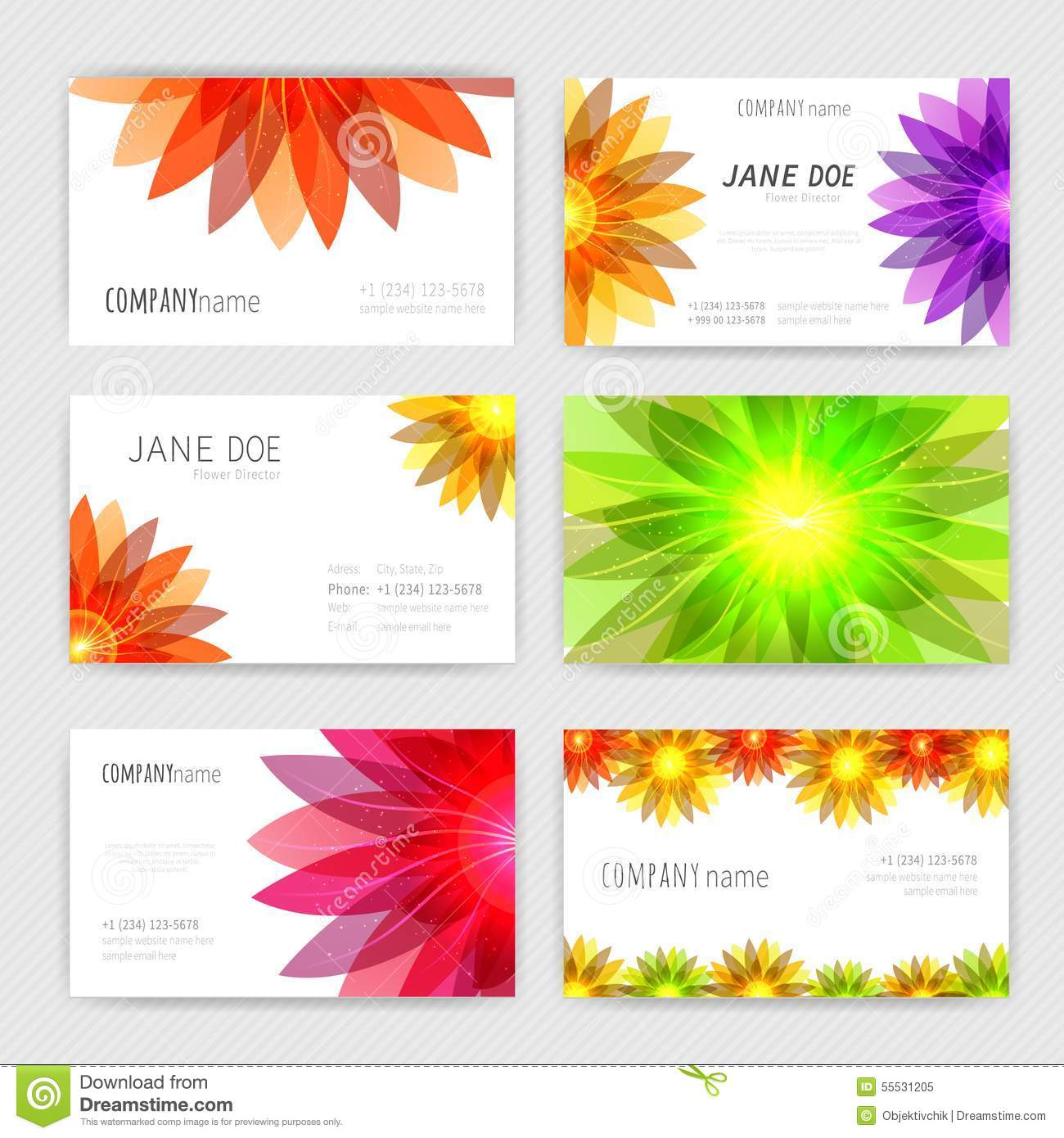 Flower business cards set stock vector. Image of decoration - 55531205