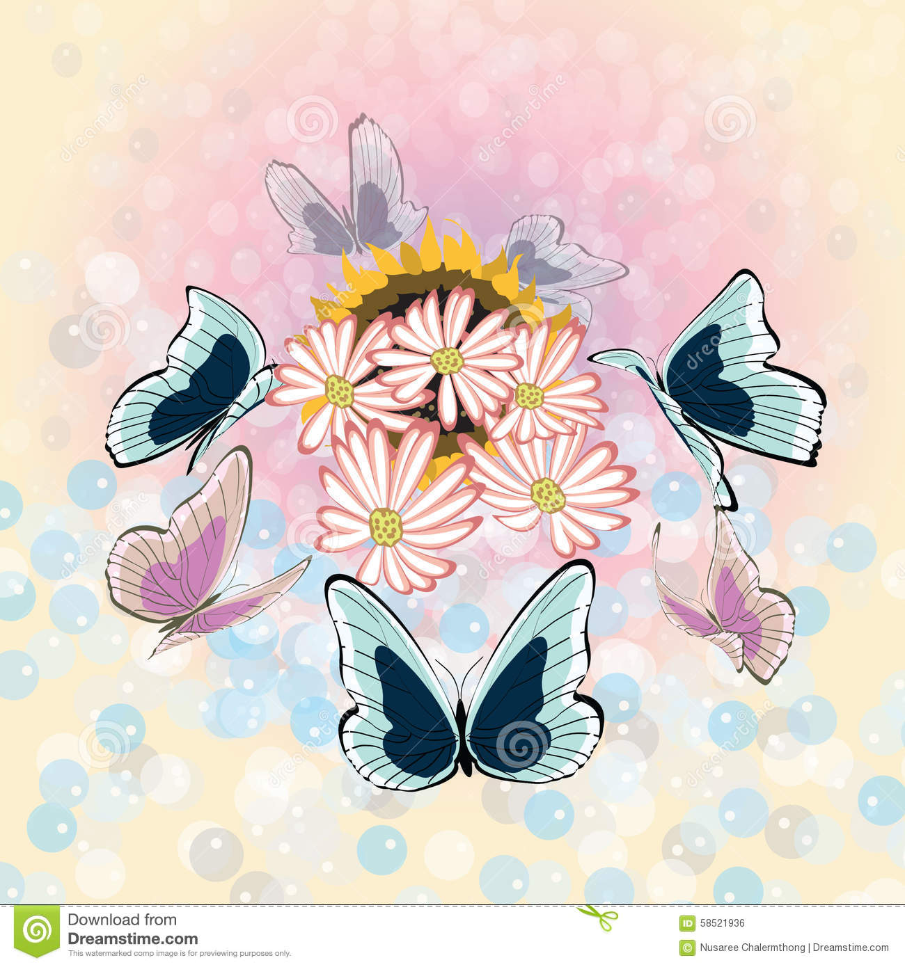 Book Cover Design Flower : Flower and butterfly background stock illustration image