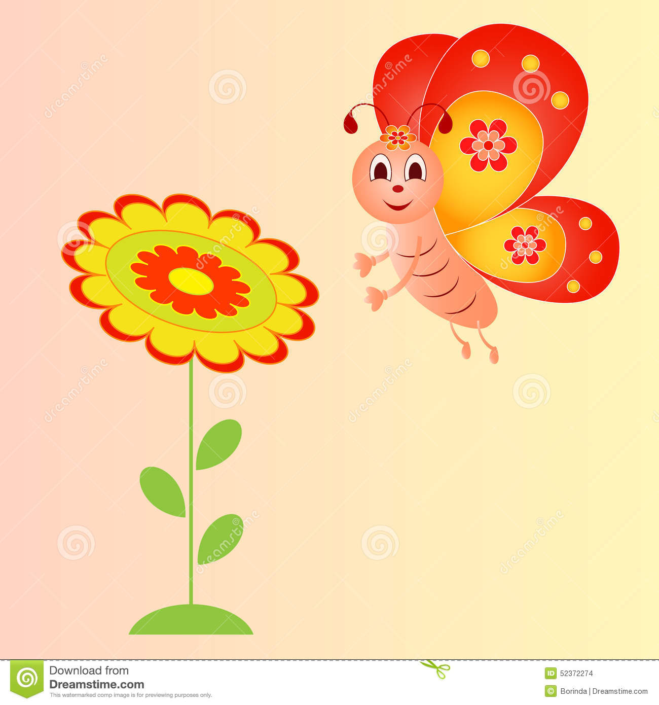 Flower And Butterfly Illustration On Pink Background Illustration
