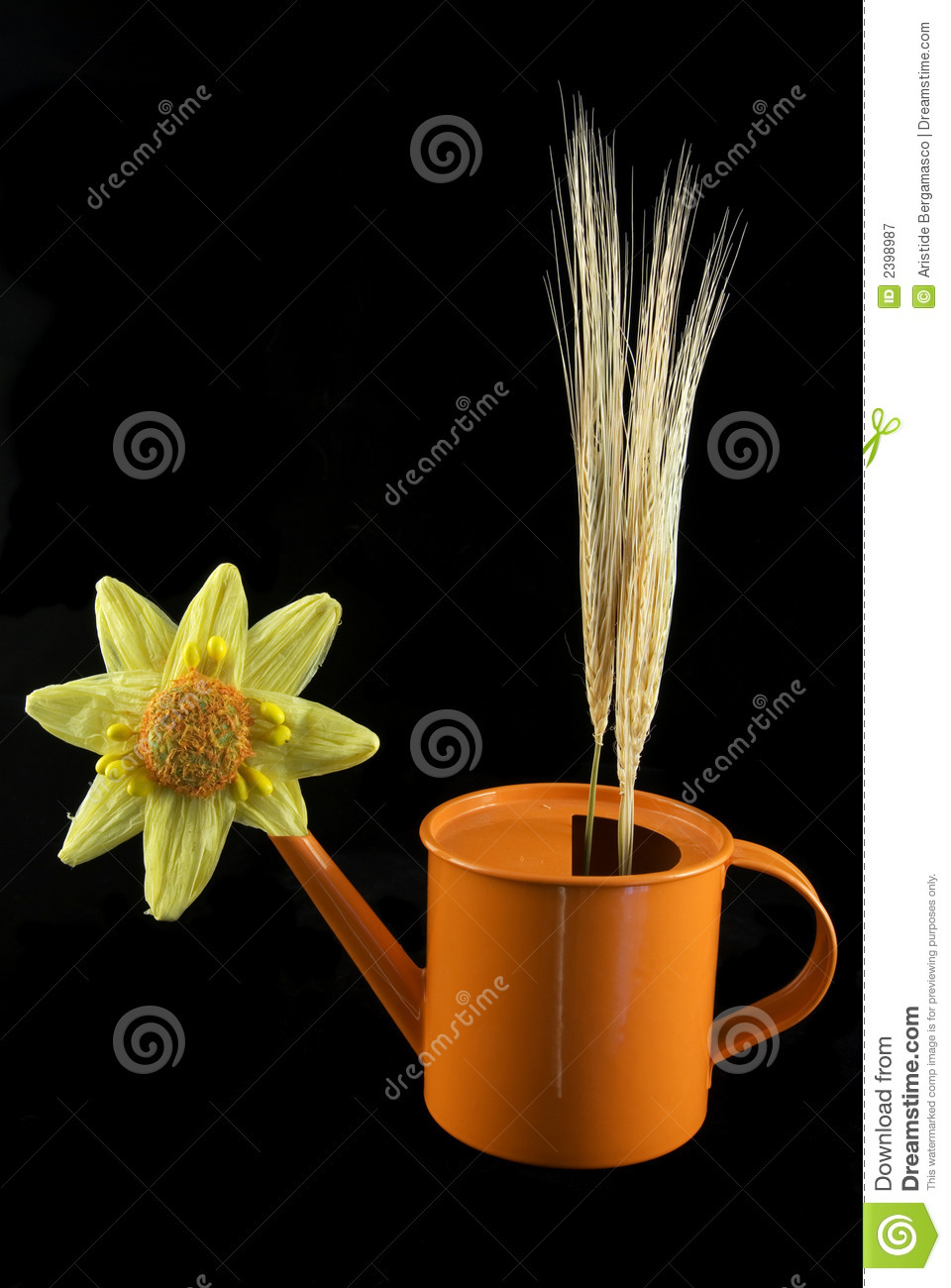 Flower can with wheat spikes