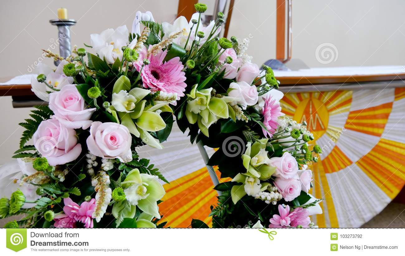Flower Candle Used For A Funeral Stock Photo Image Of Funeral