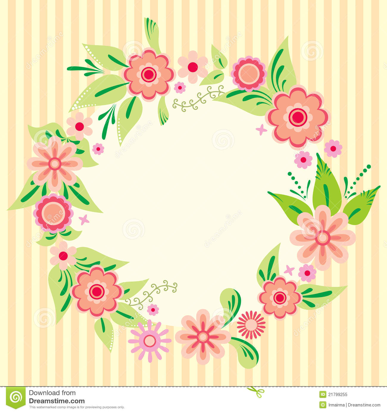 Flower Card Stock Vector. Illustration Of Garland, Natural