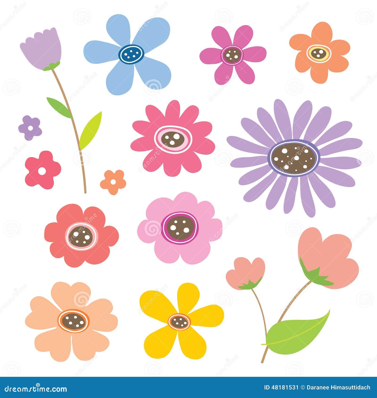 flower cartoon cute color icon vector stock vector image