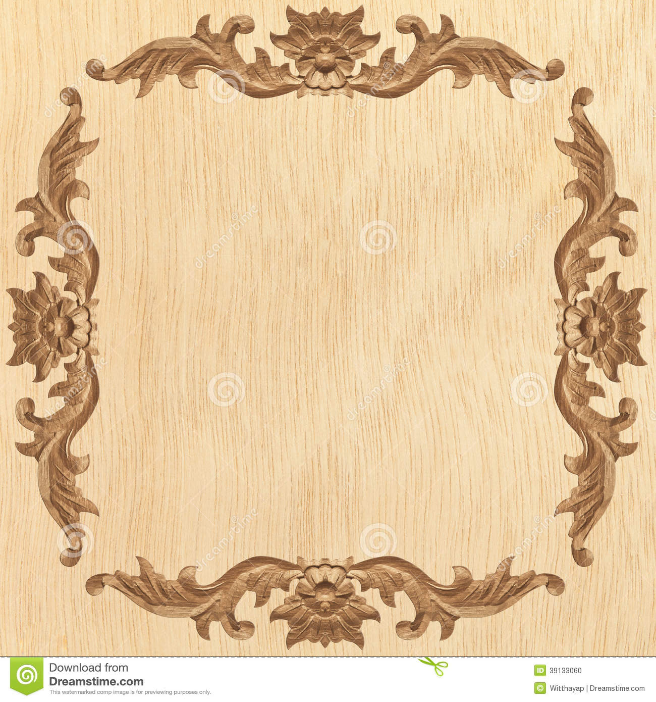 Flower carved frame stock photo image 39133060 How to carve designs in wood