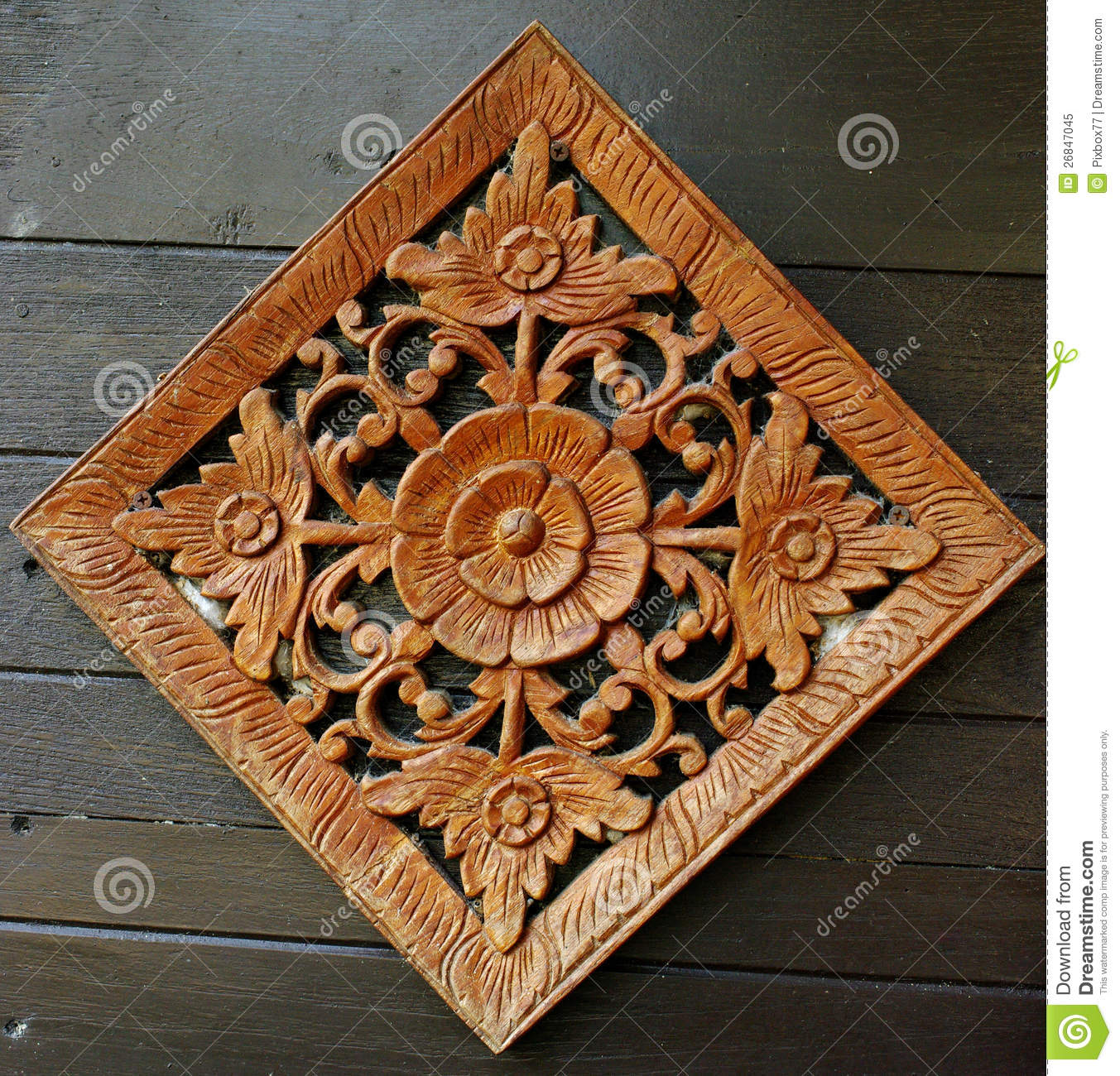 Flower Carving Art On Wooden Wall Royalty Free Stock Photo