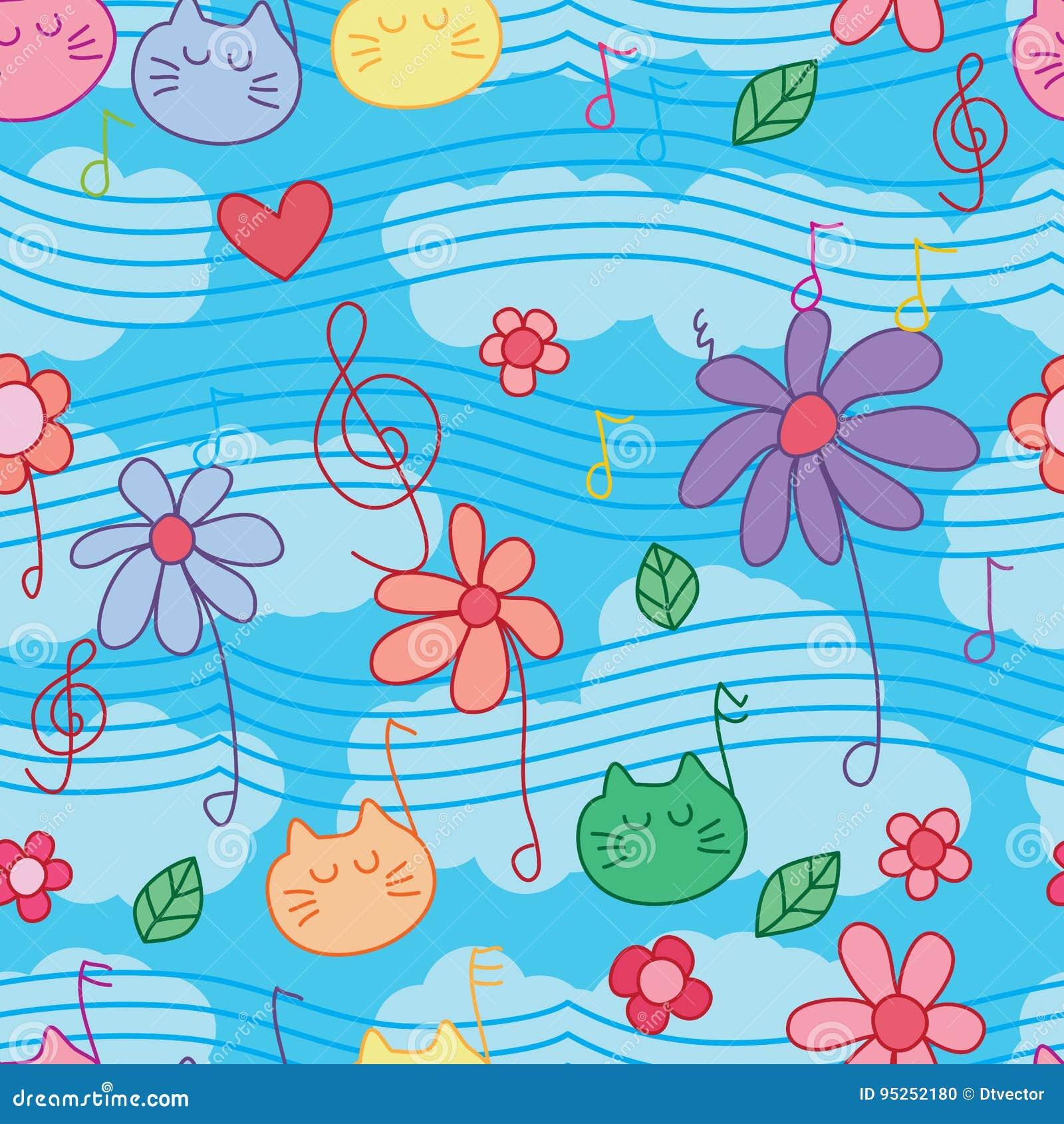 Flower Cat Music Note Seamless Pattern Stock Vector