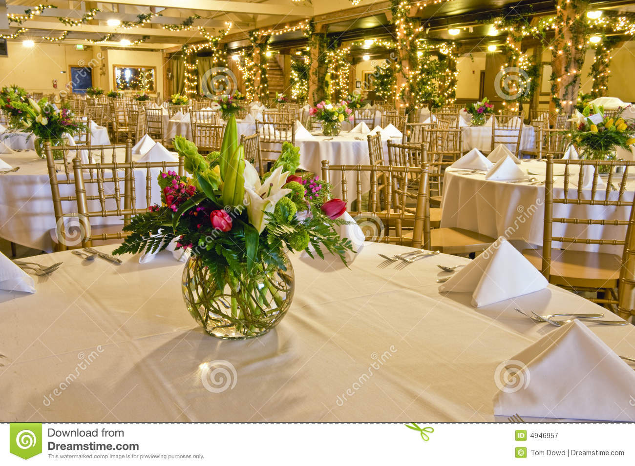 Flower Centerpiece On Table Stock Image Image 4946957