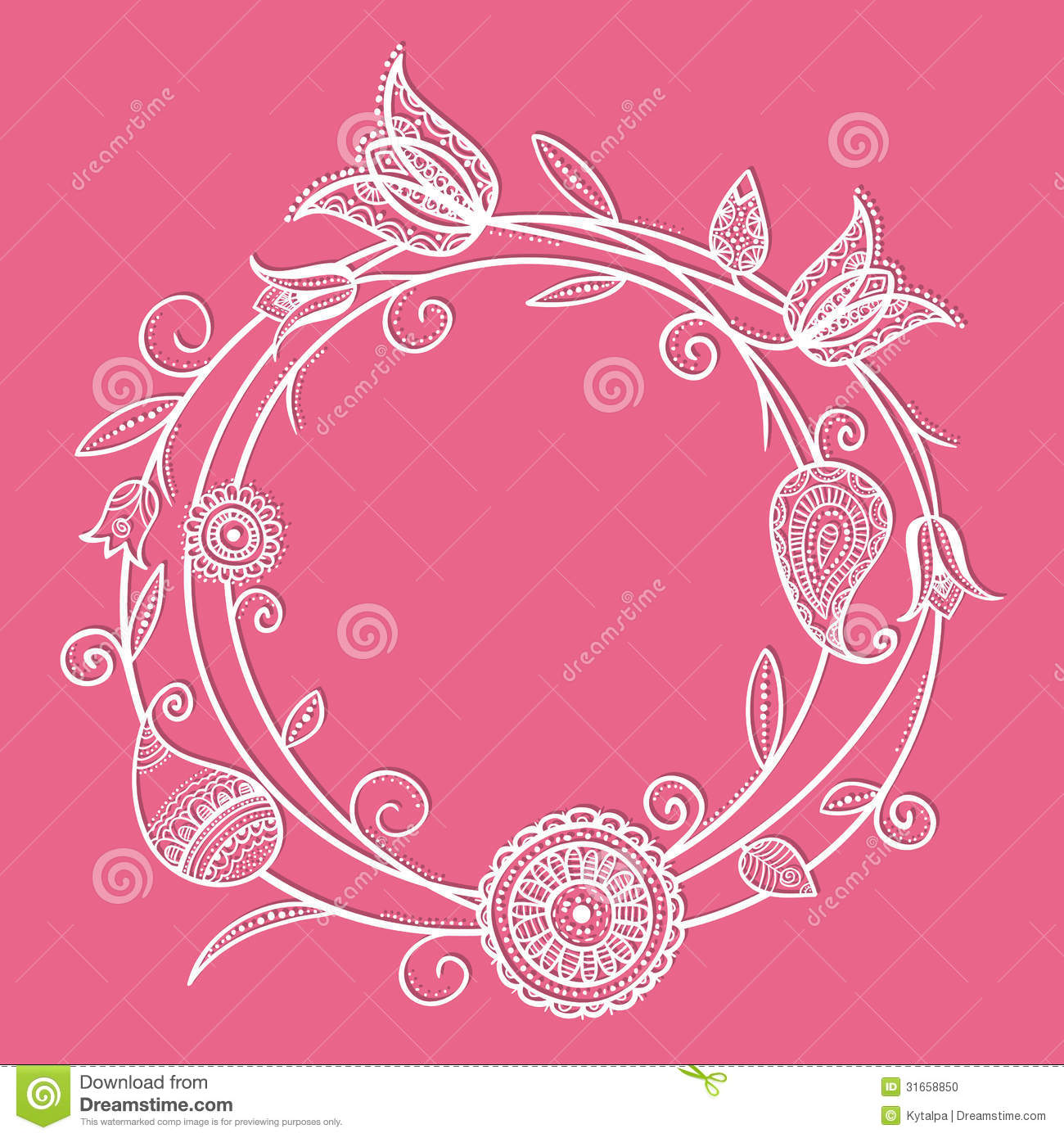 Floral design in circle stock vector image 75615991 - Flower Circle Doodle Stock Photo