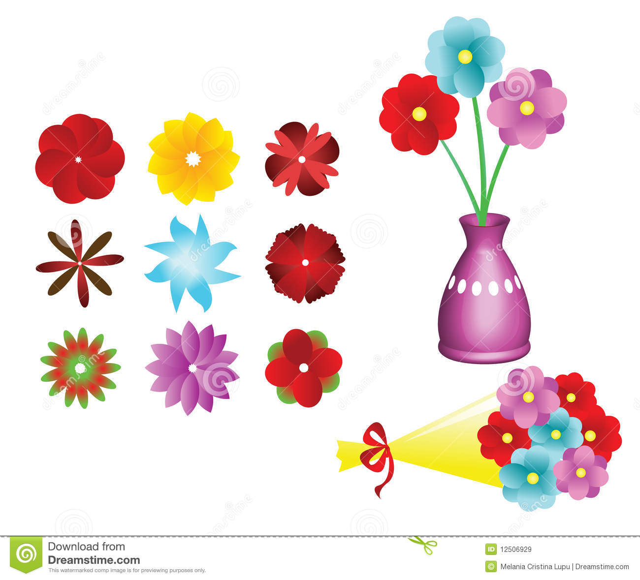 Flower Collection Set Flower Bouquet Vector Stock Vector