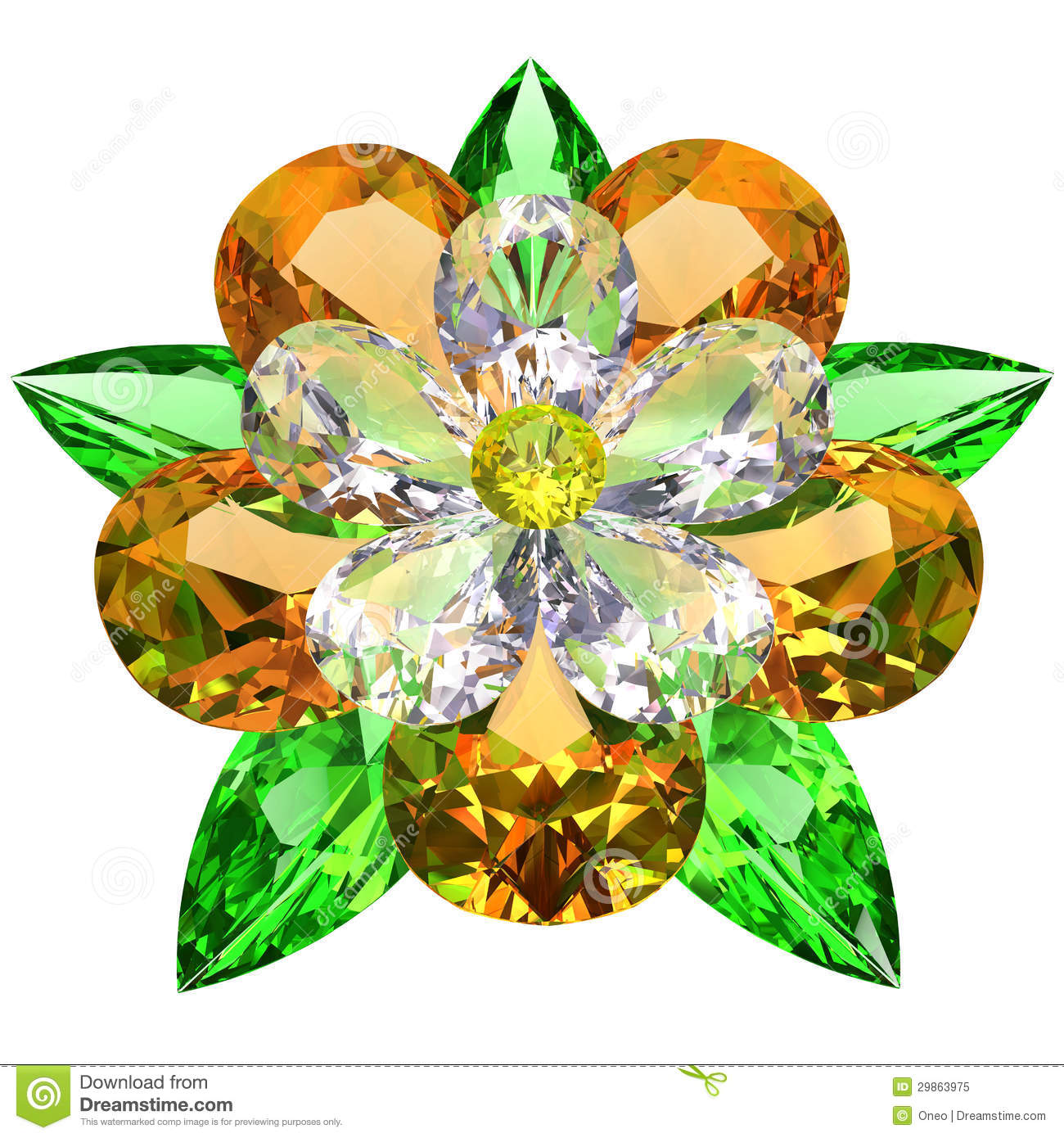 Flower Composed Of Colored Gemstones On White Stock