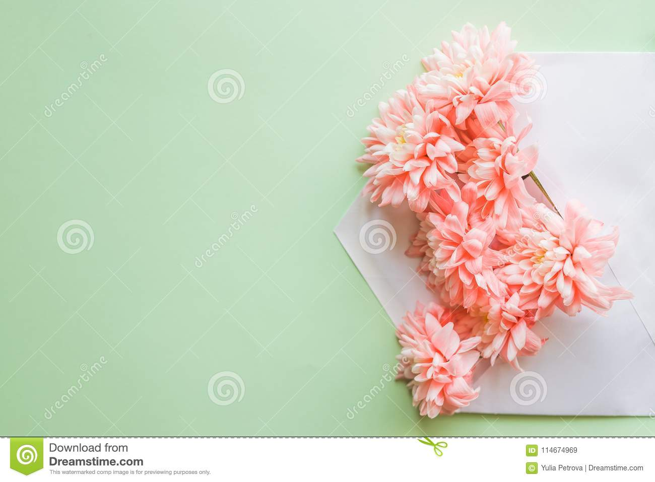 Flower Composition For Greeting Cardwith Chrysanthemums And