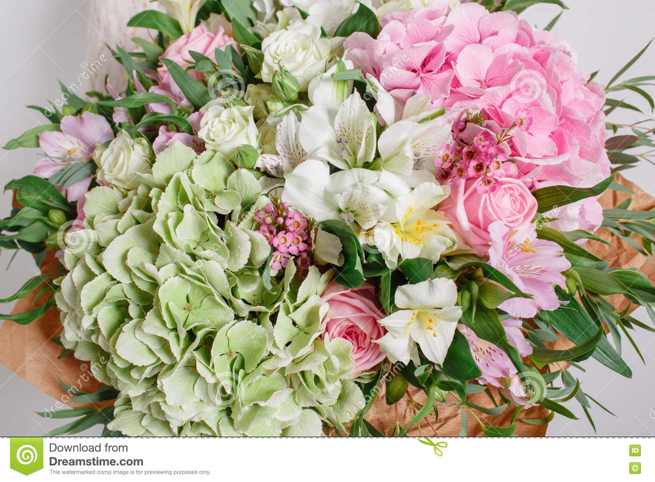 Flower Composition With Hydrangea And Roses Color Pink Green Kraft