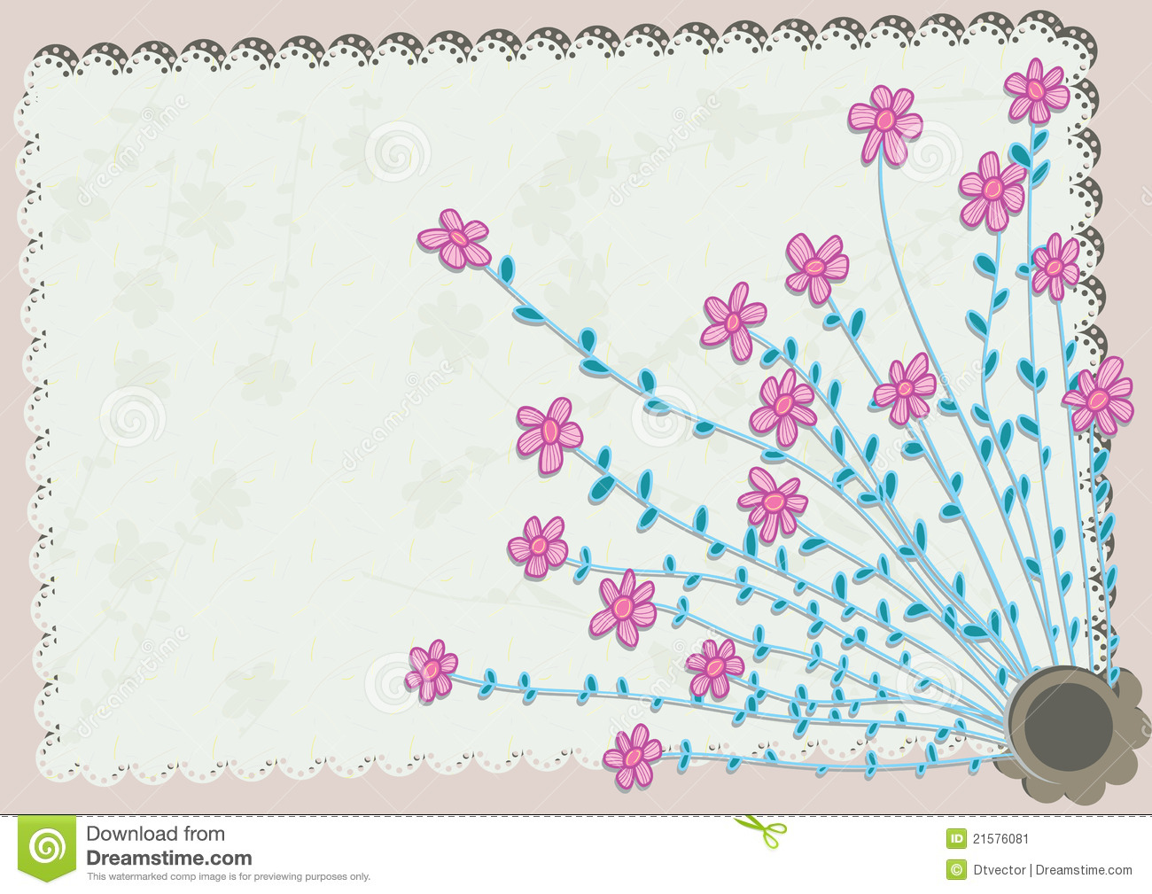 Flower Corner Pattern Card Eps Stock Vector Illustration Of