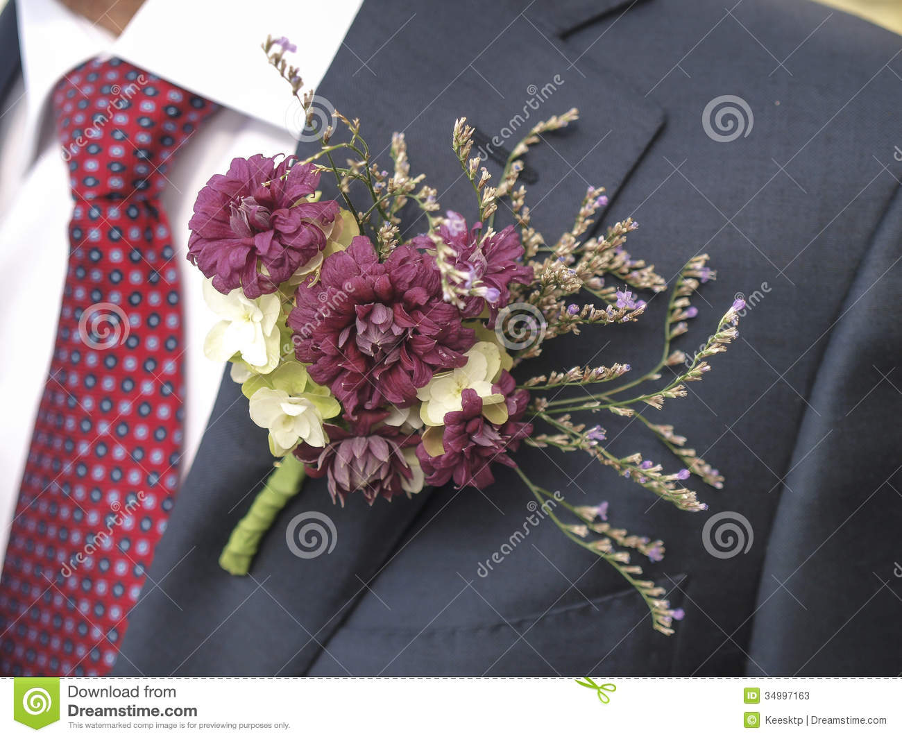 Flower Corsage With A Tie Stock s Image