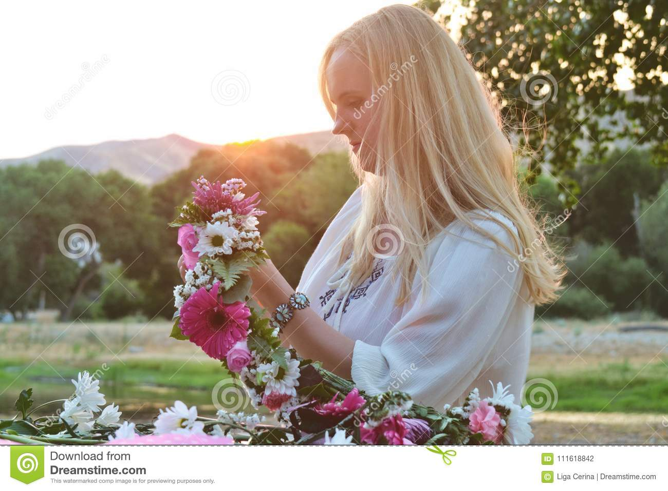 Flower Crown And Woman Stock Photo Image Of Light Flower 111618842