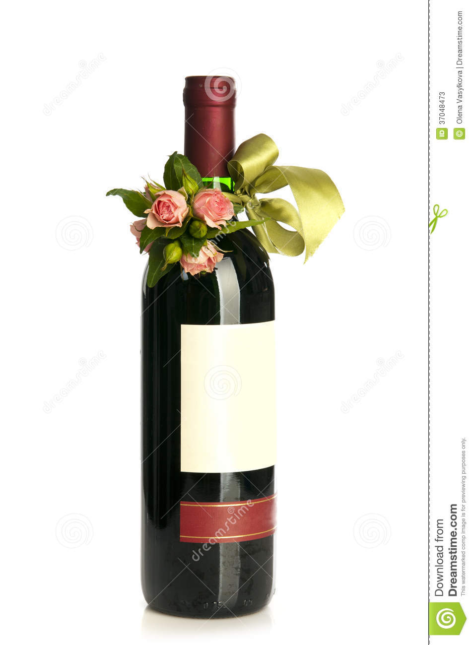 flower decorated wine bottle stock image image 37048473
