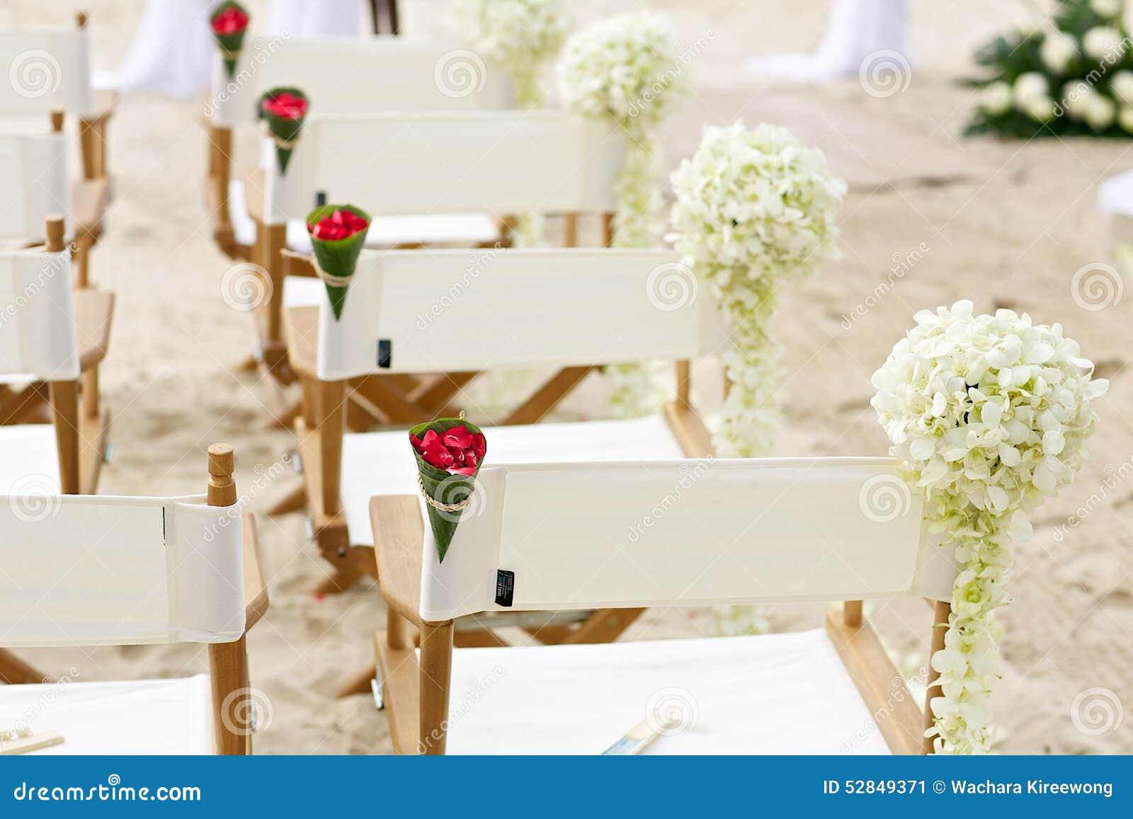 flower decoration chair on beach wedding venue stock image. Black Bedroom Furniture Sets. Home Design Ideas
