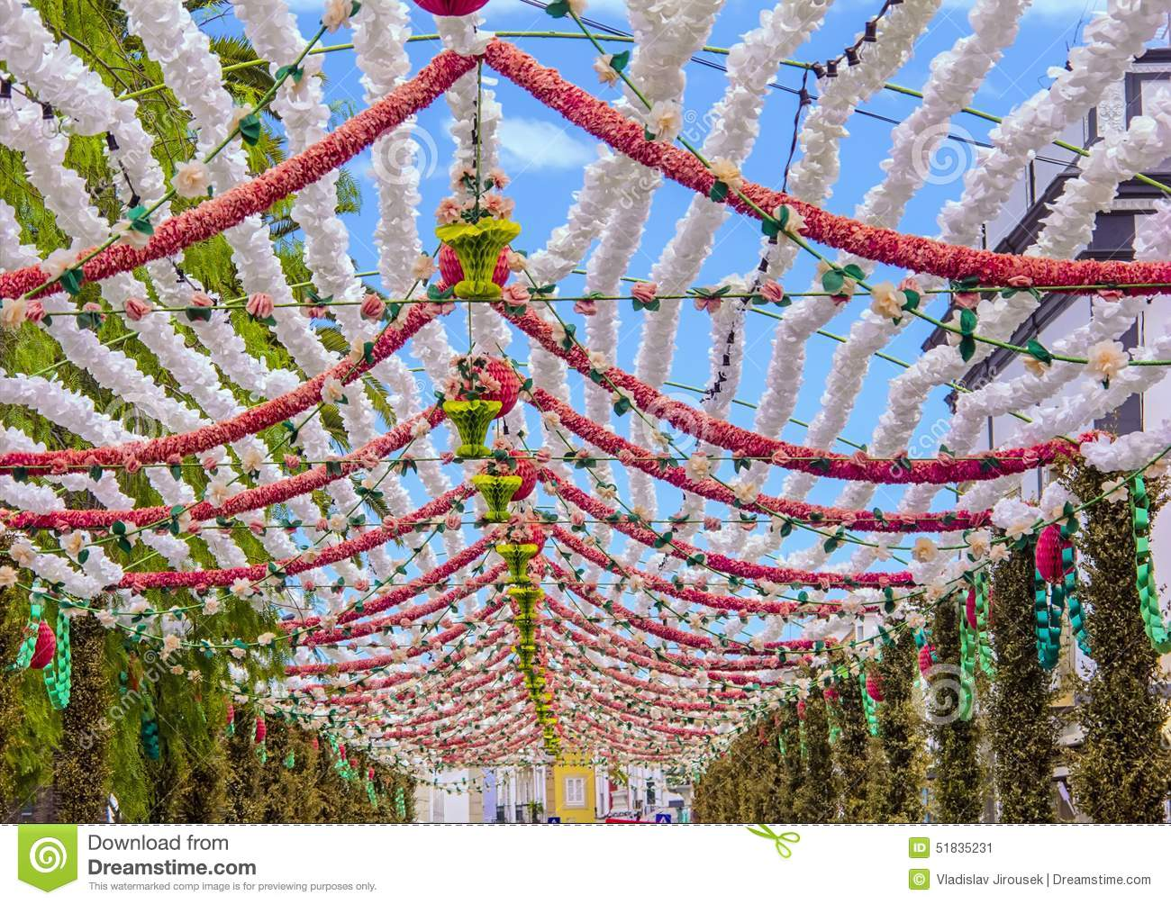 Flower Decoration In Portugal Stock Image   Image of decorate