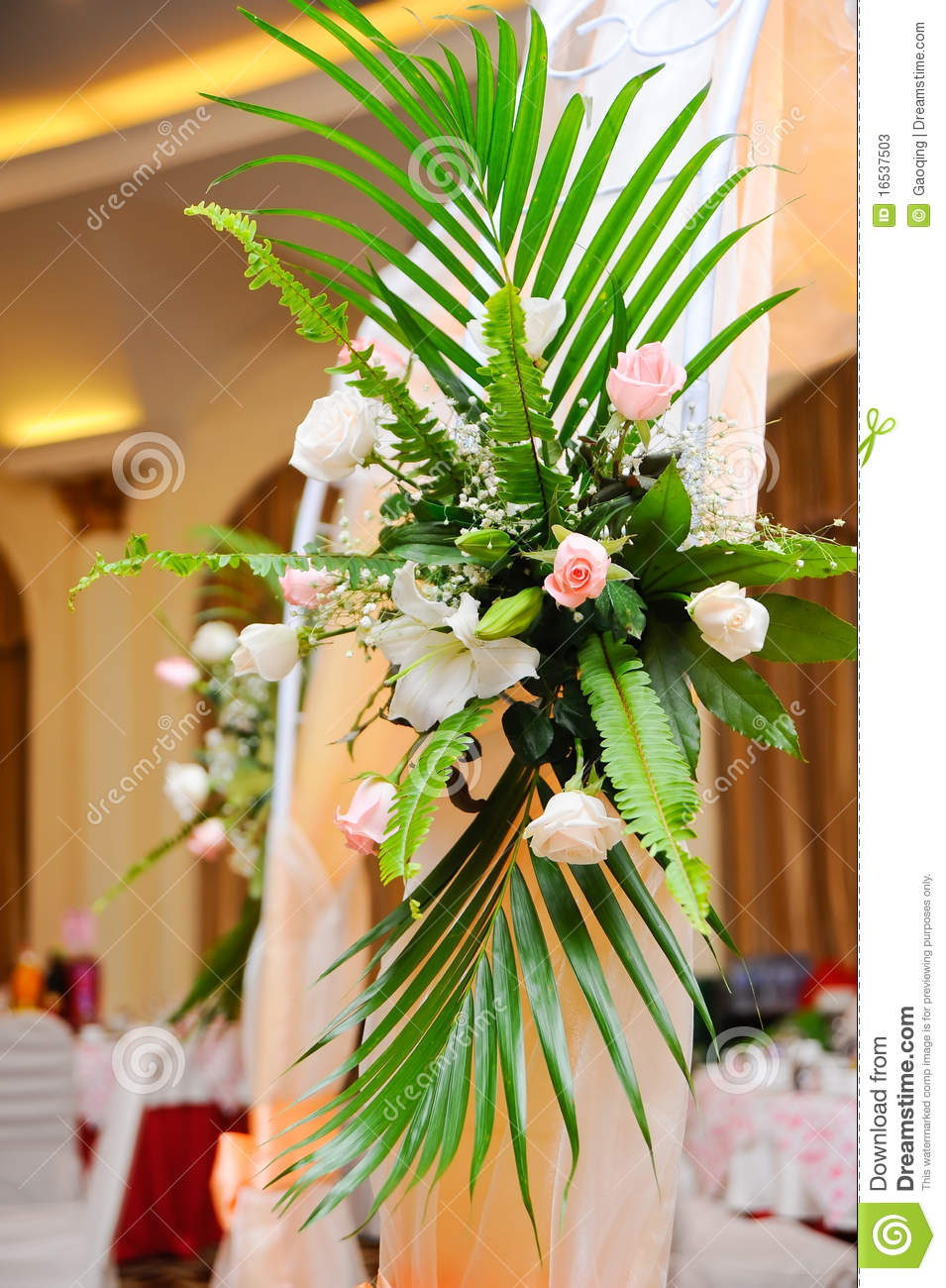 Flower Decoration Of Wedding Banquet Hall Interior Stock Photos